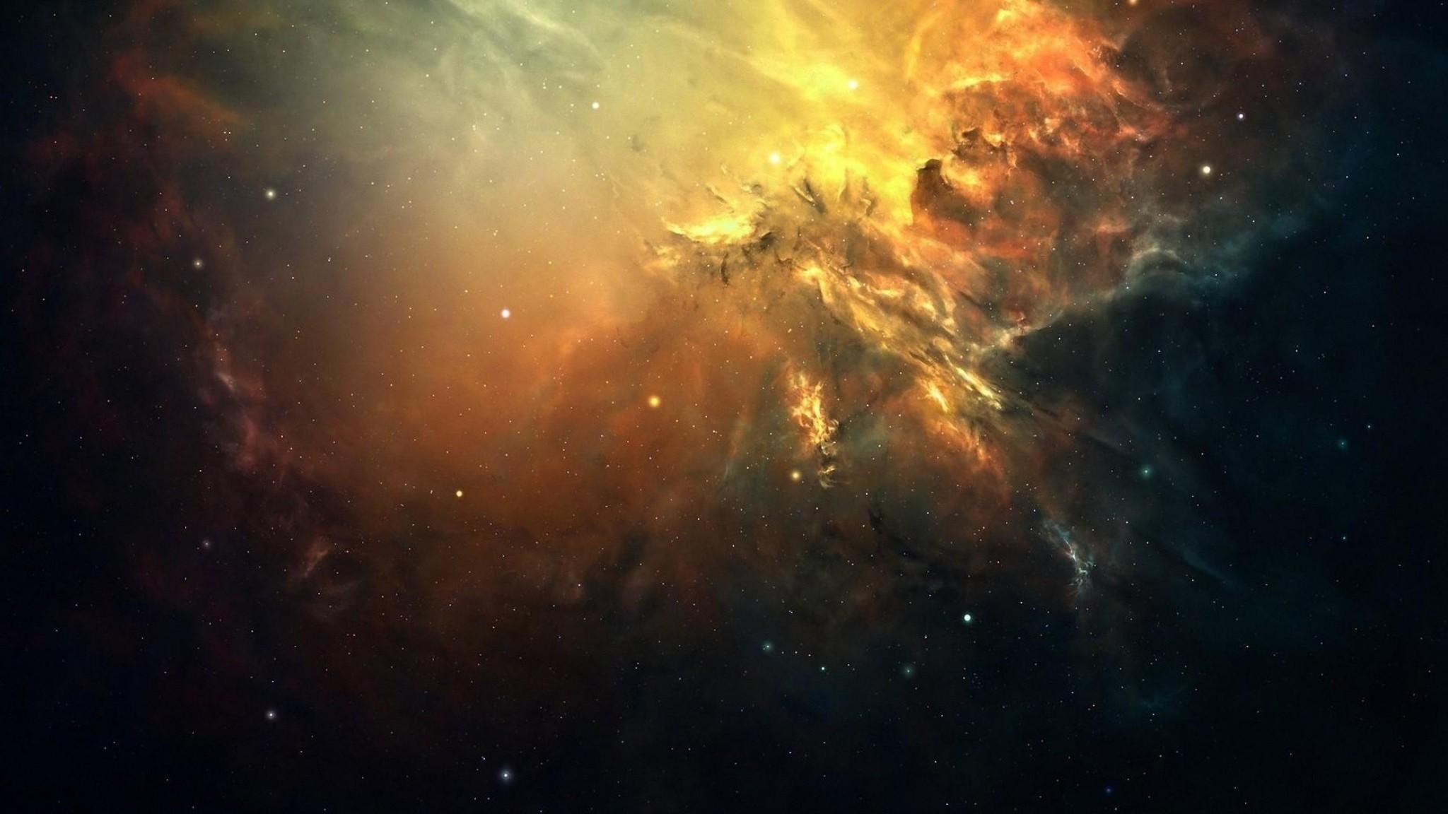 Preview wallpaper galaxy, space, light, stars, nebula 2048×1152