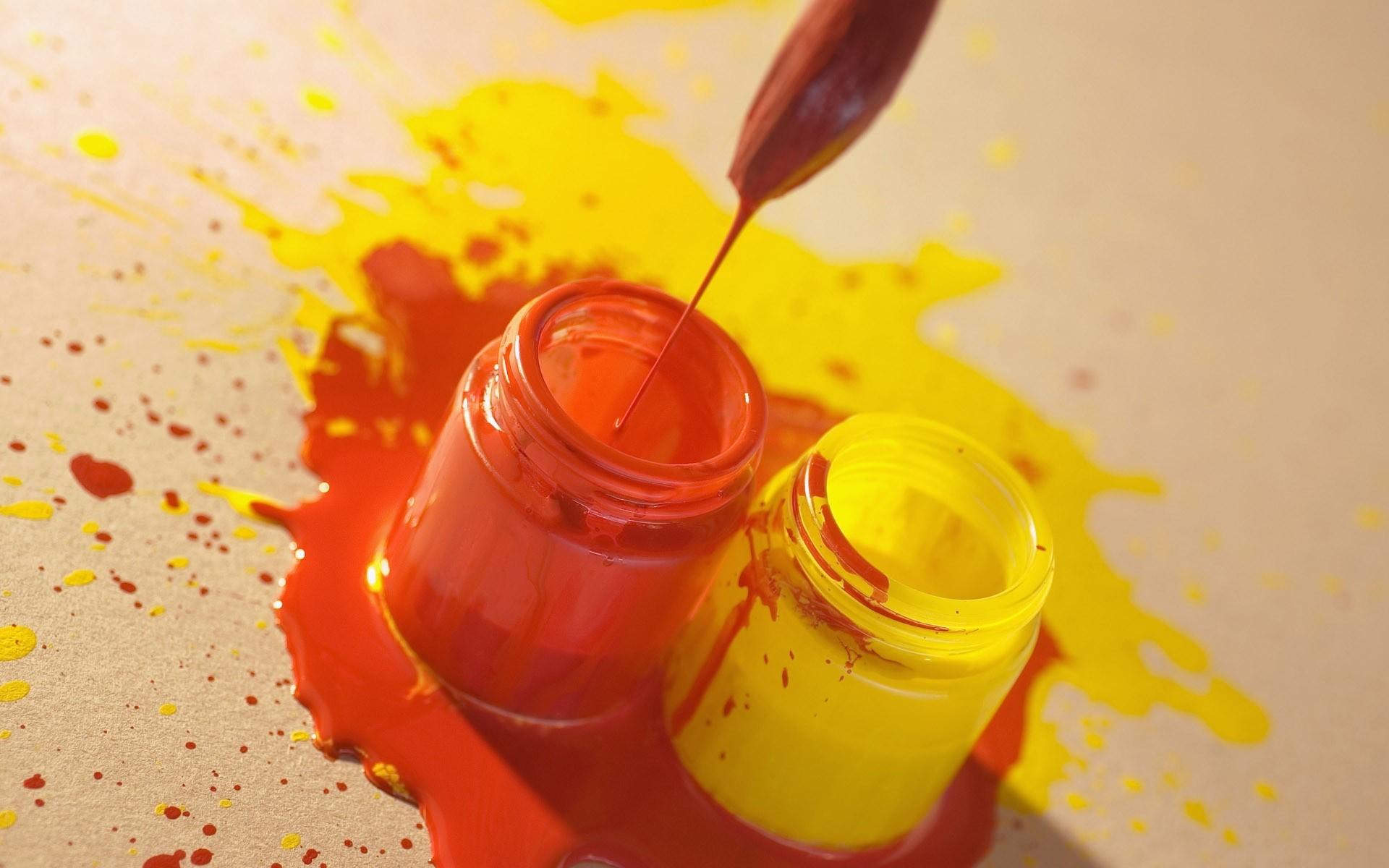 Wallpaper paint, bank, brush, red, yellow
