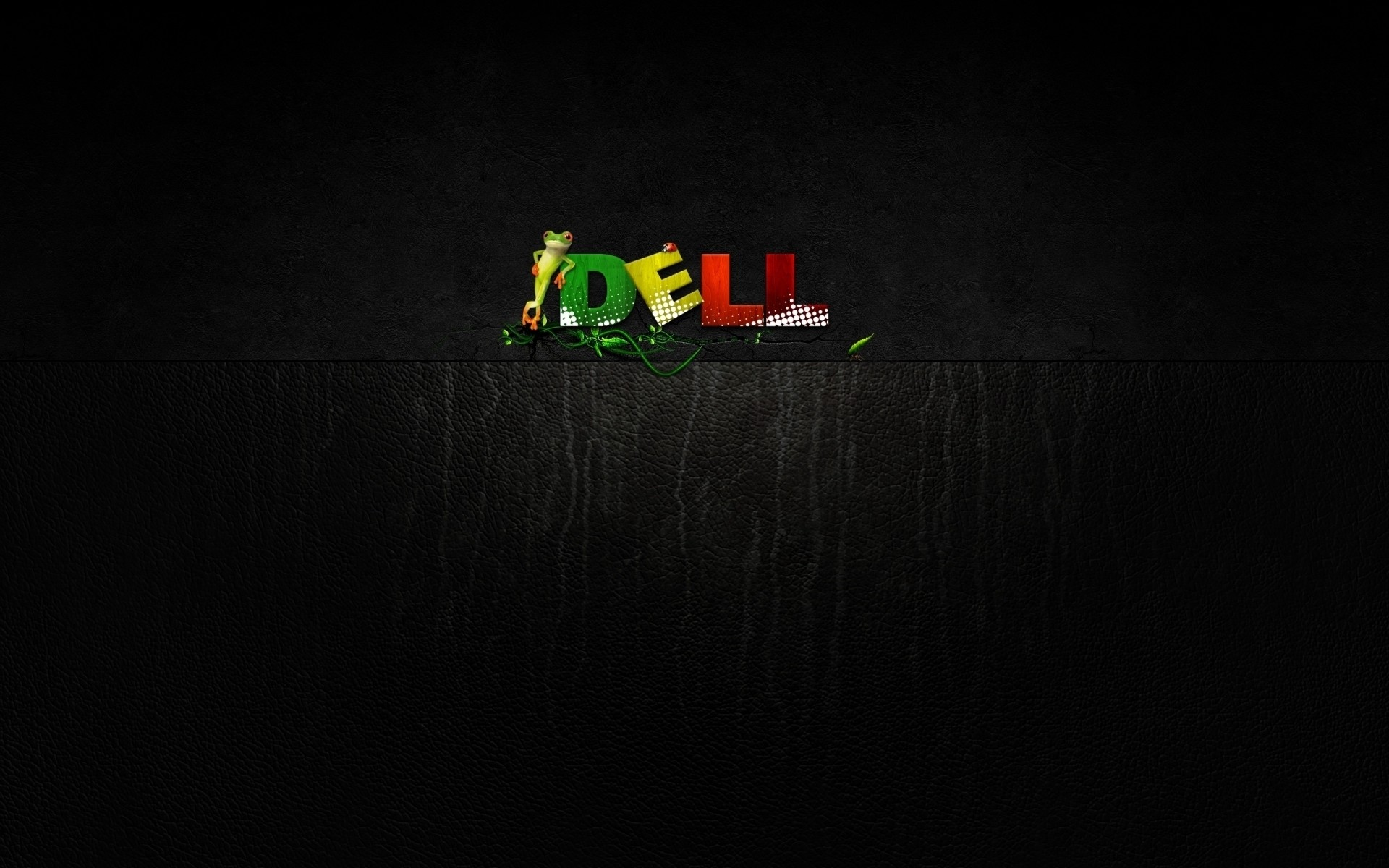 Wallpaper dell, company, computers, frog, green, yellow, red