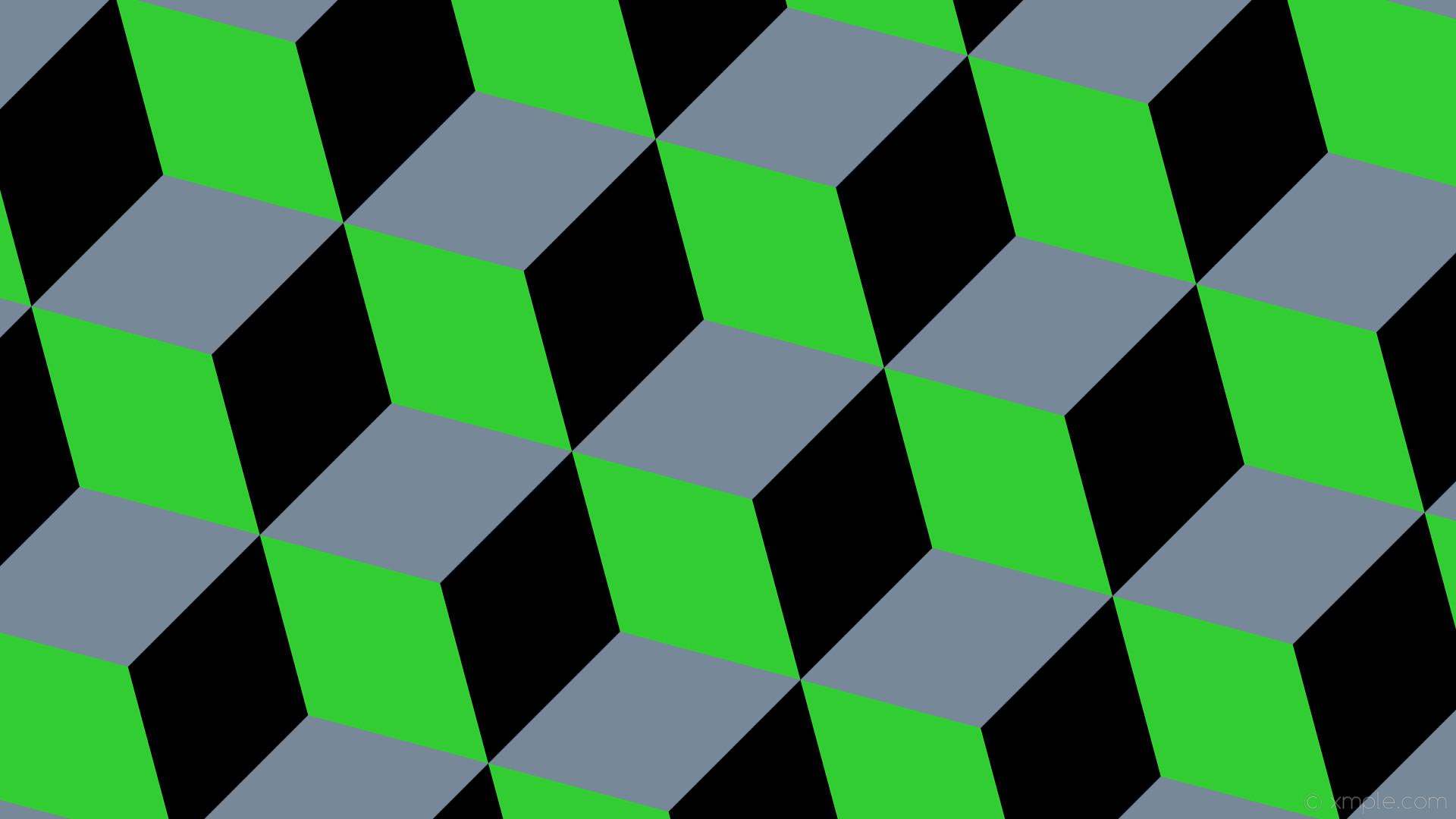 wallpaper grey black 3d cubes green light slate gray lime green #778899  #32cd32 #