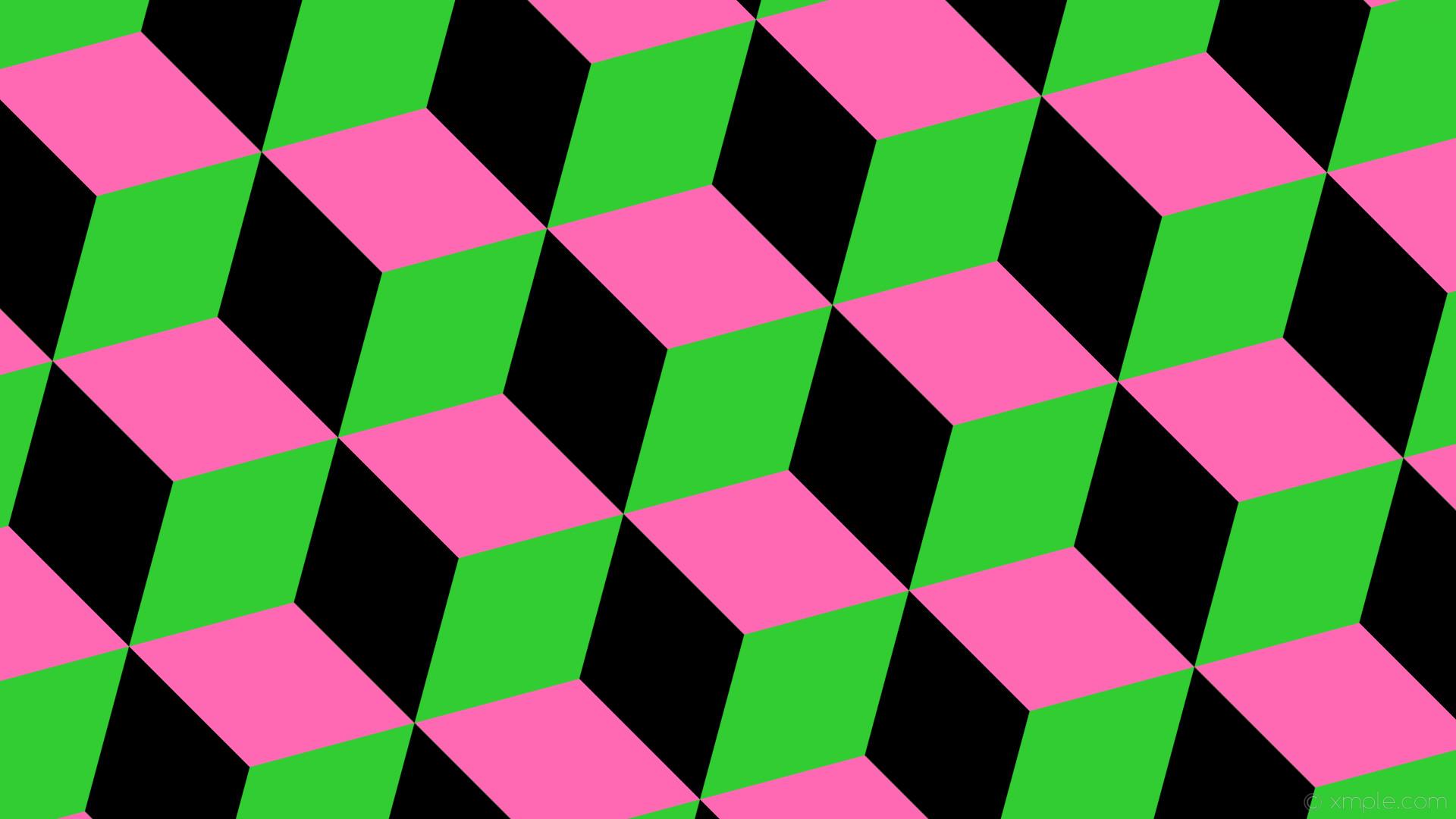 wallpaper green pink black 3d cubes lime green hot pink #32cd32 #ff69b4  #000000