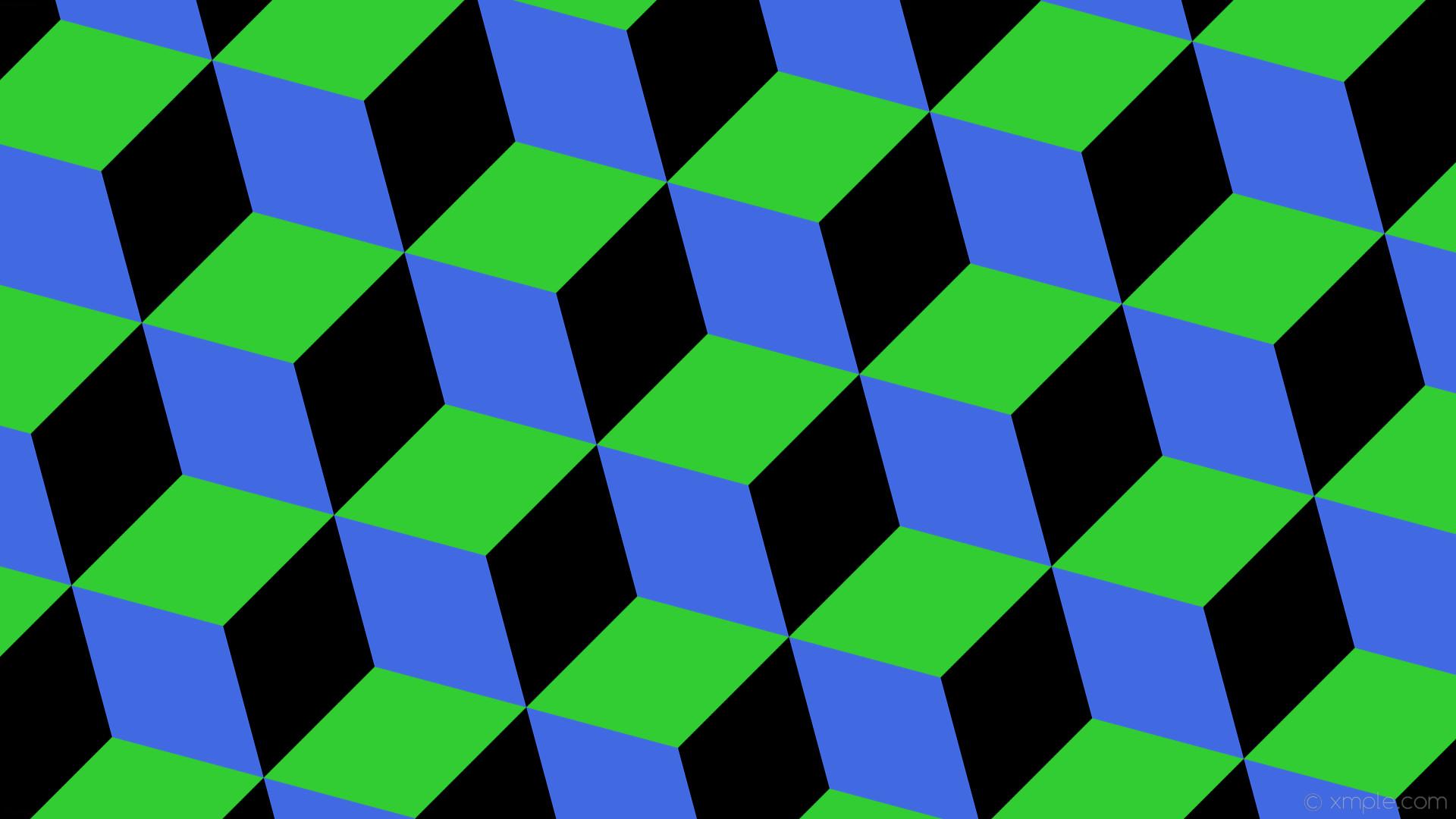 wallpaper green blue black 3d cubes lime green royal blue #32cd32 #4169e1  #000000