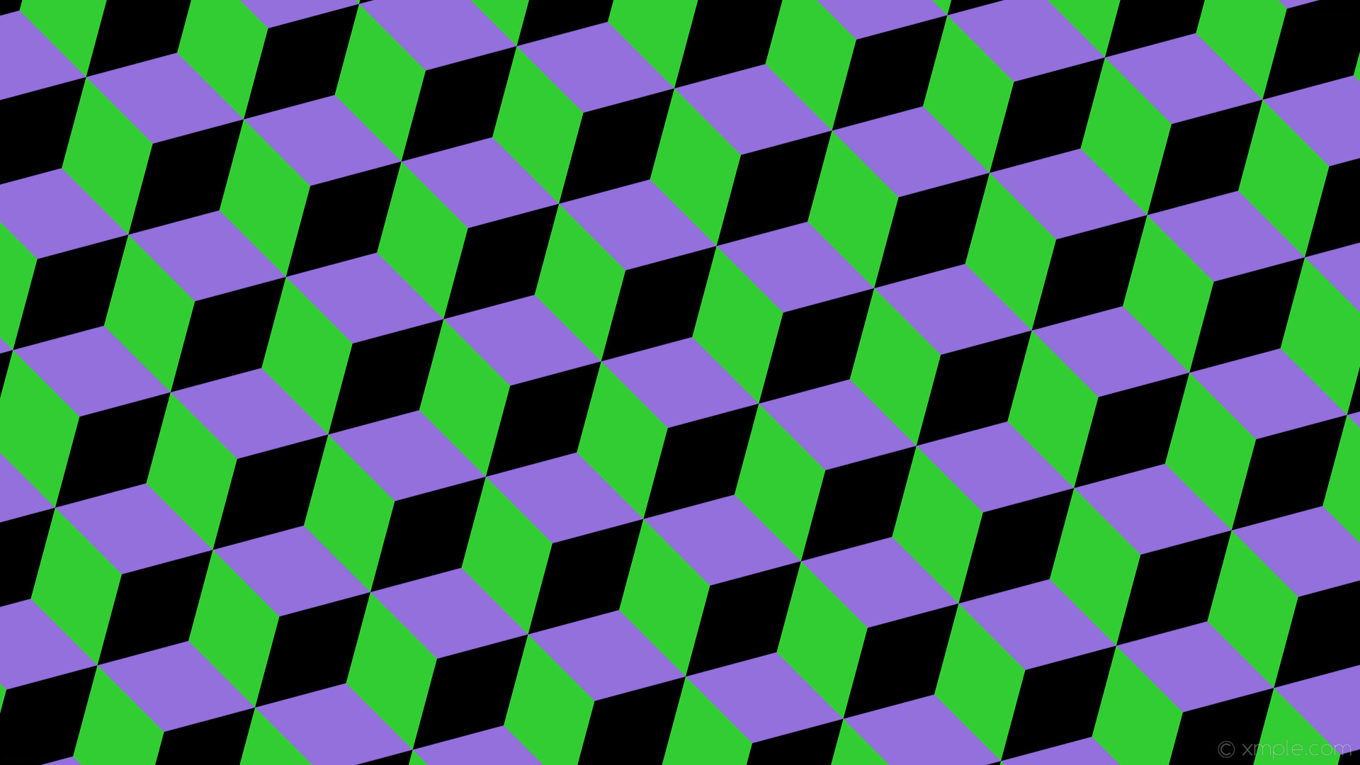 wallpaper black green 3d cubes purple medium purple lime green #9370db  #32cd32 #000000