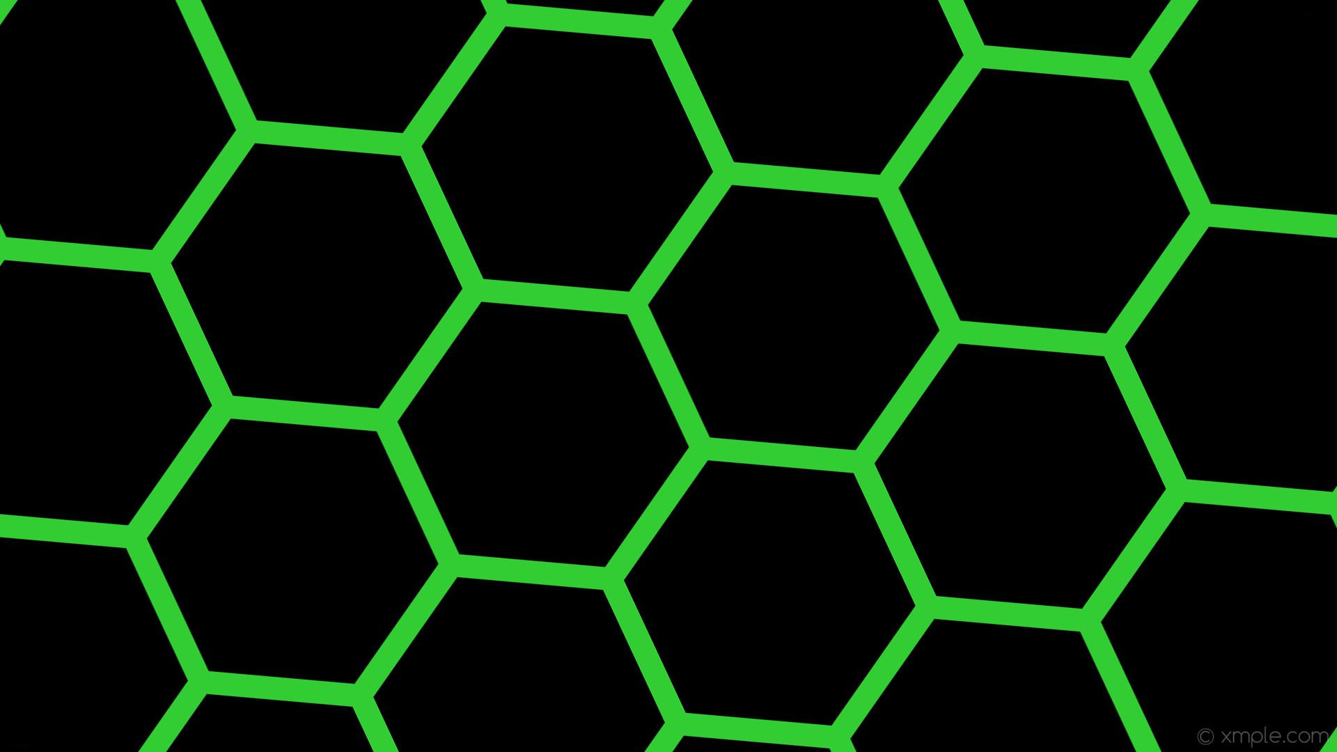 wallpaper green black honeycomb hexagon beehive lime green #000000 #32cd32  diagonal 25° 33px