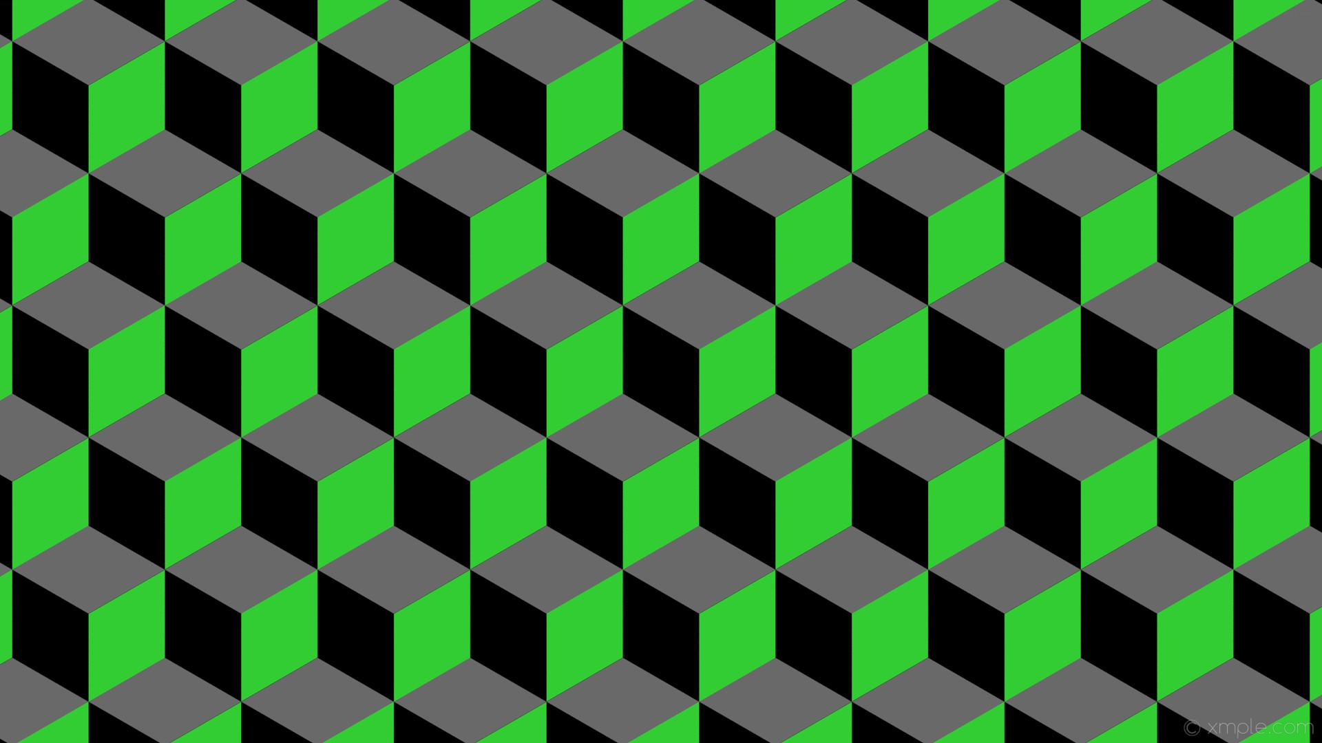 wallpaper grey green 3d cubes black lime green dim gray #000000 #32cd32  #696969