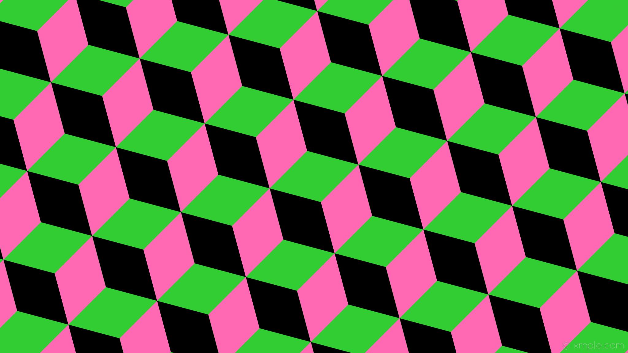 wallpaper green pink black 3d cubes lime green hot pink #32cd32 #000000  #ff69b4