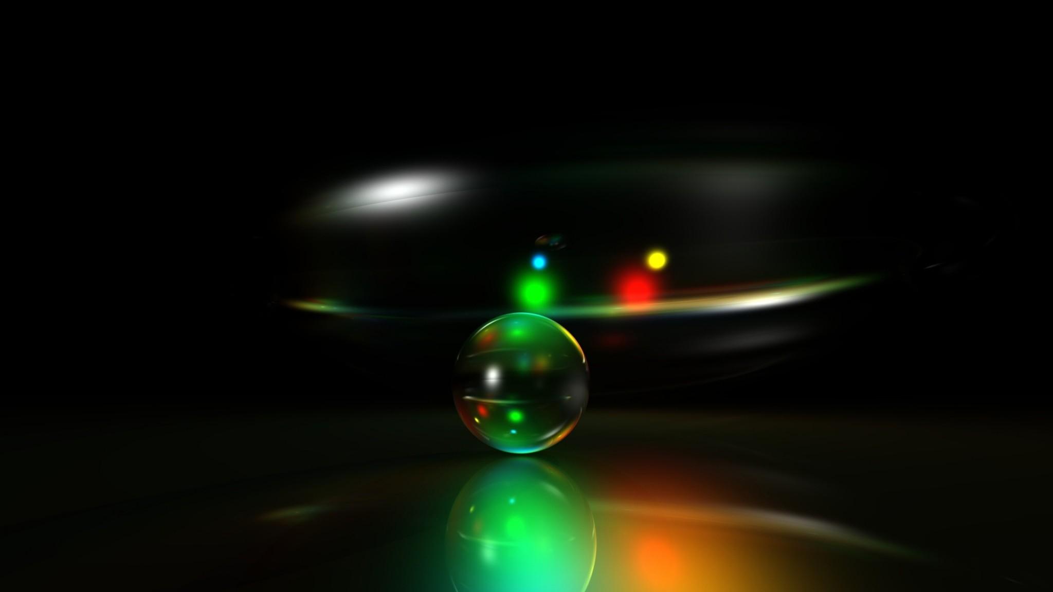 Wallpaper neon, green, ball, bright, light