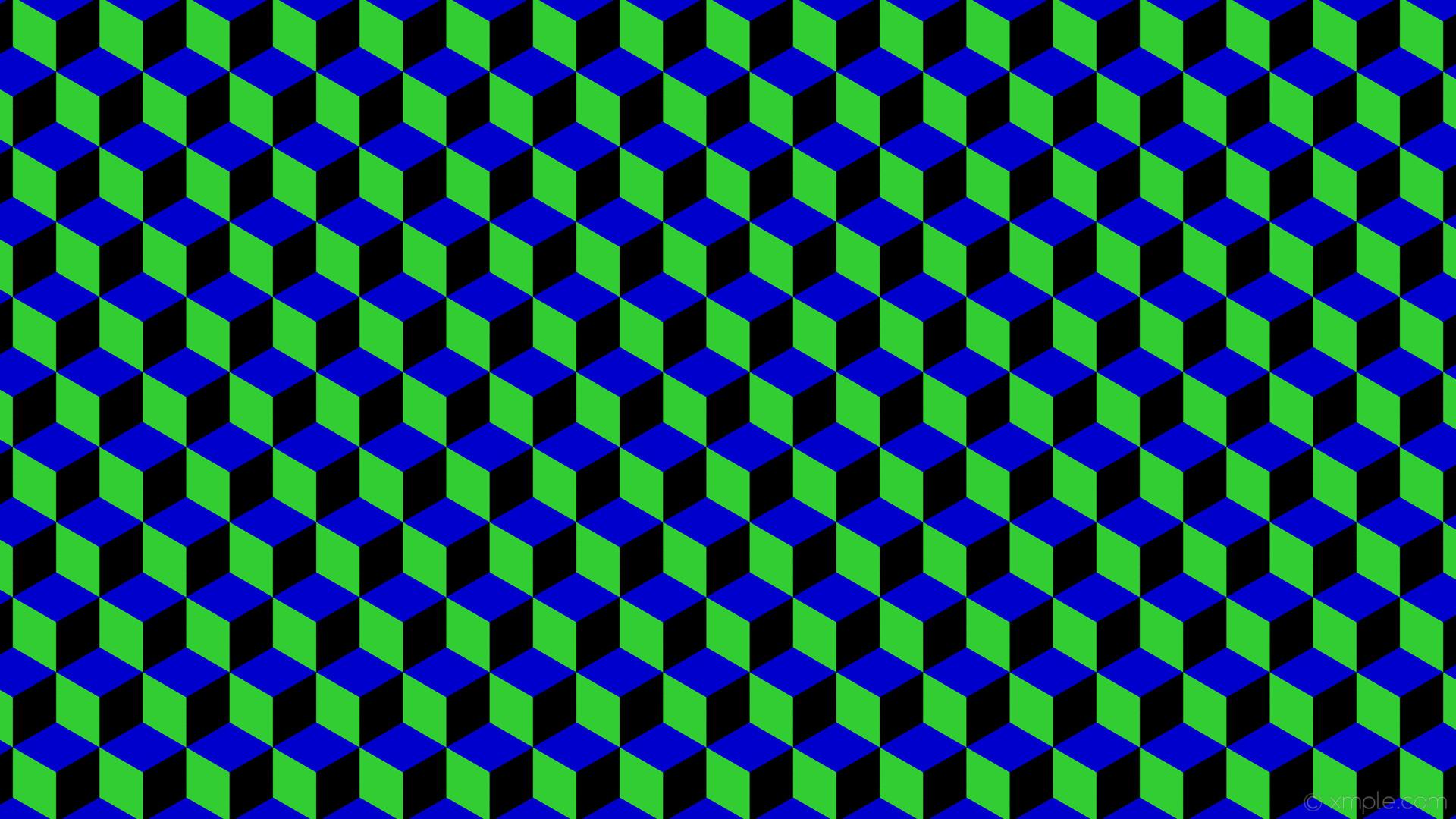 wallpaper blue 3d cubes green black medium blue lime green #000000 #0000cd  #32cd32