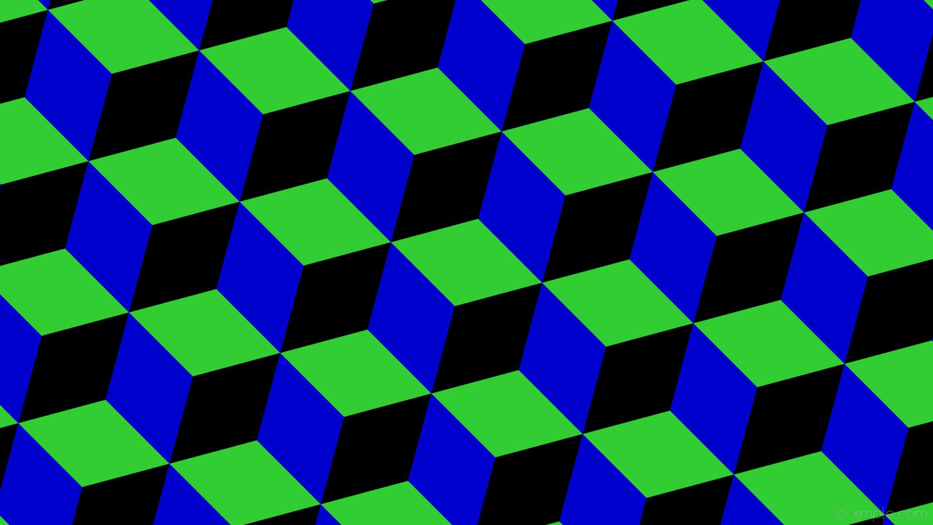 wallpaper green black blue 3d cubes lime green medium blue #32cd32 #0000cd  #000000