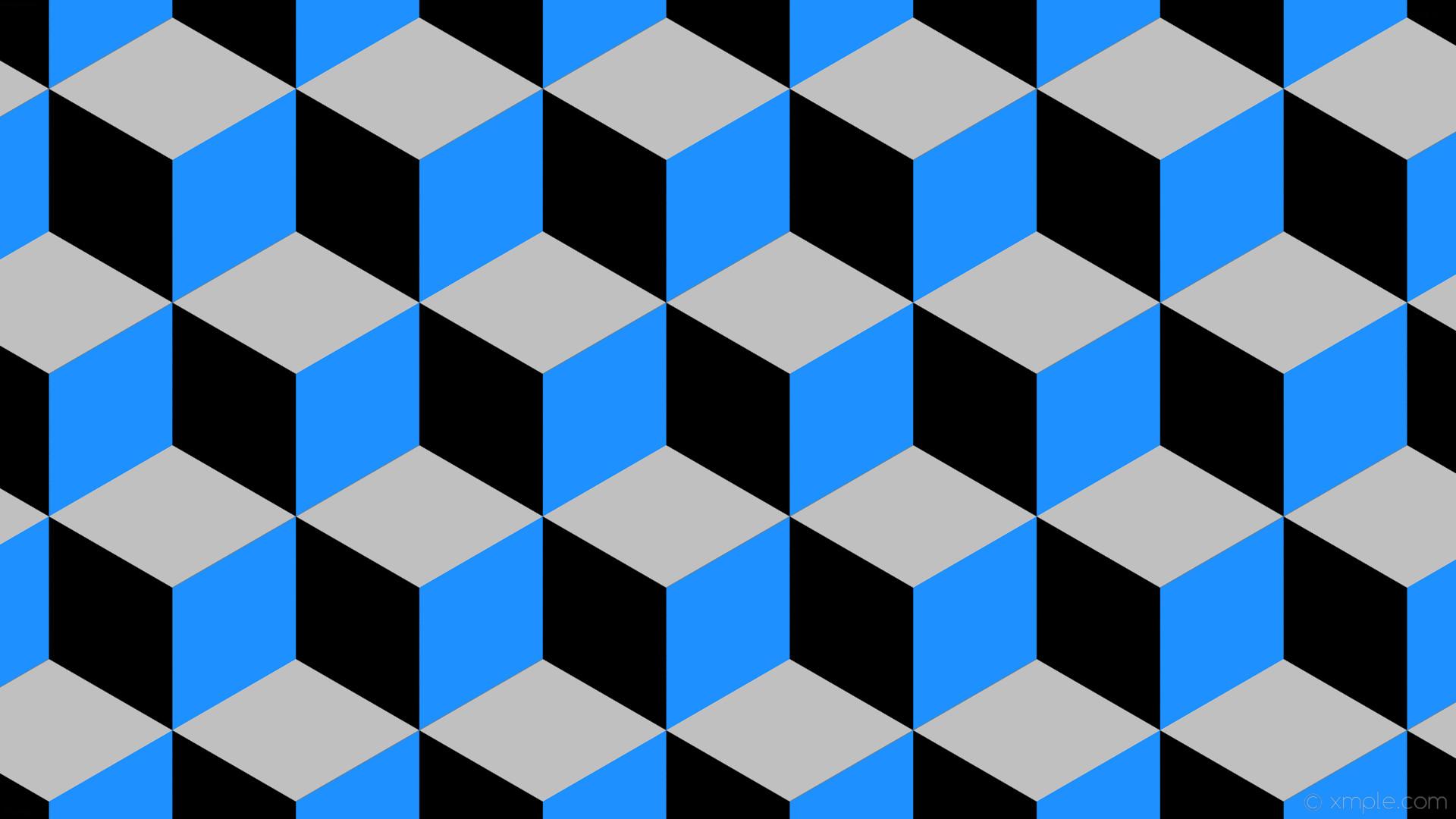 wallpaper grey 3d cubes blue black dodger blue silver #000000 #1e90ff  #c0c0c0 300