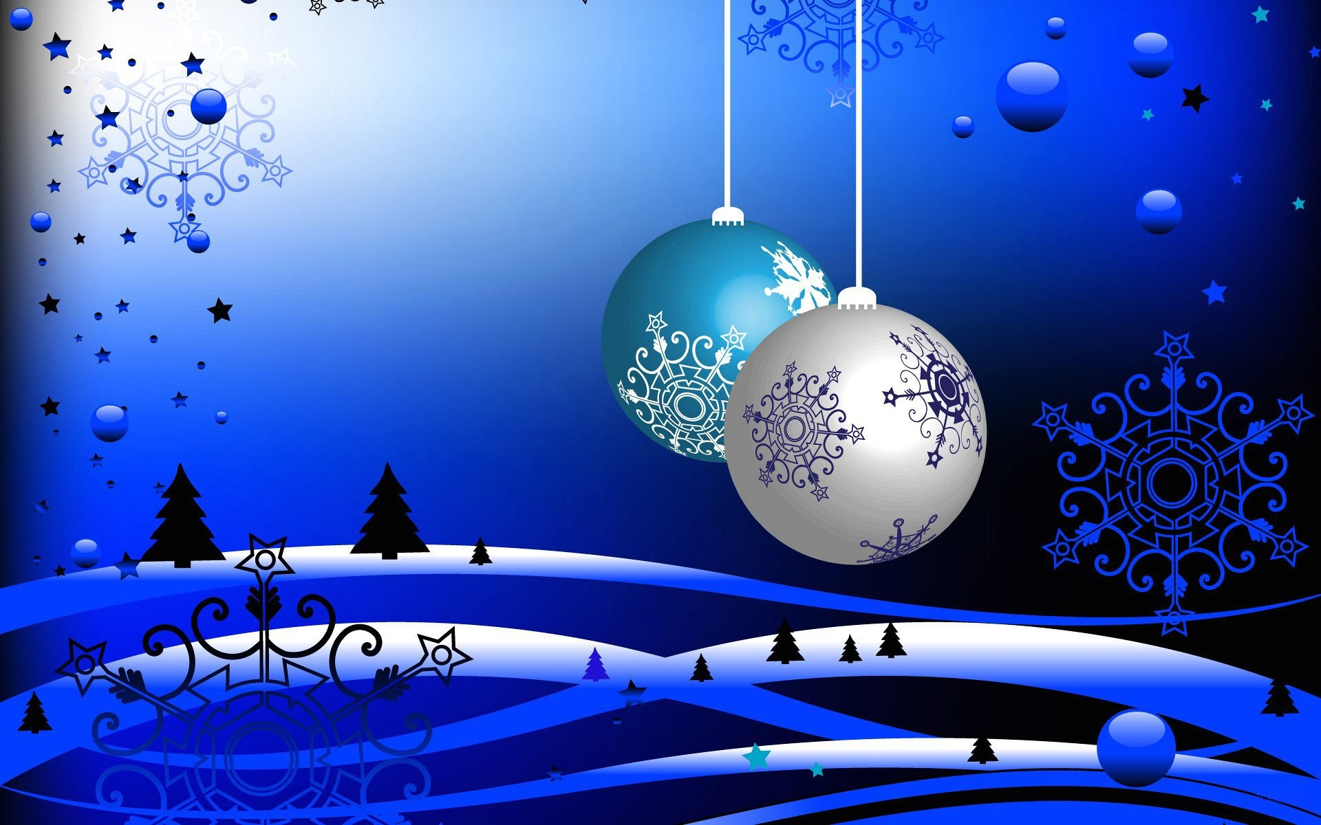 Wallpaper christmas silver and blue