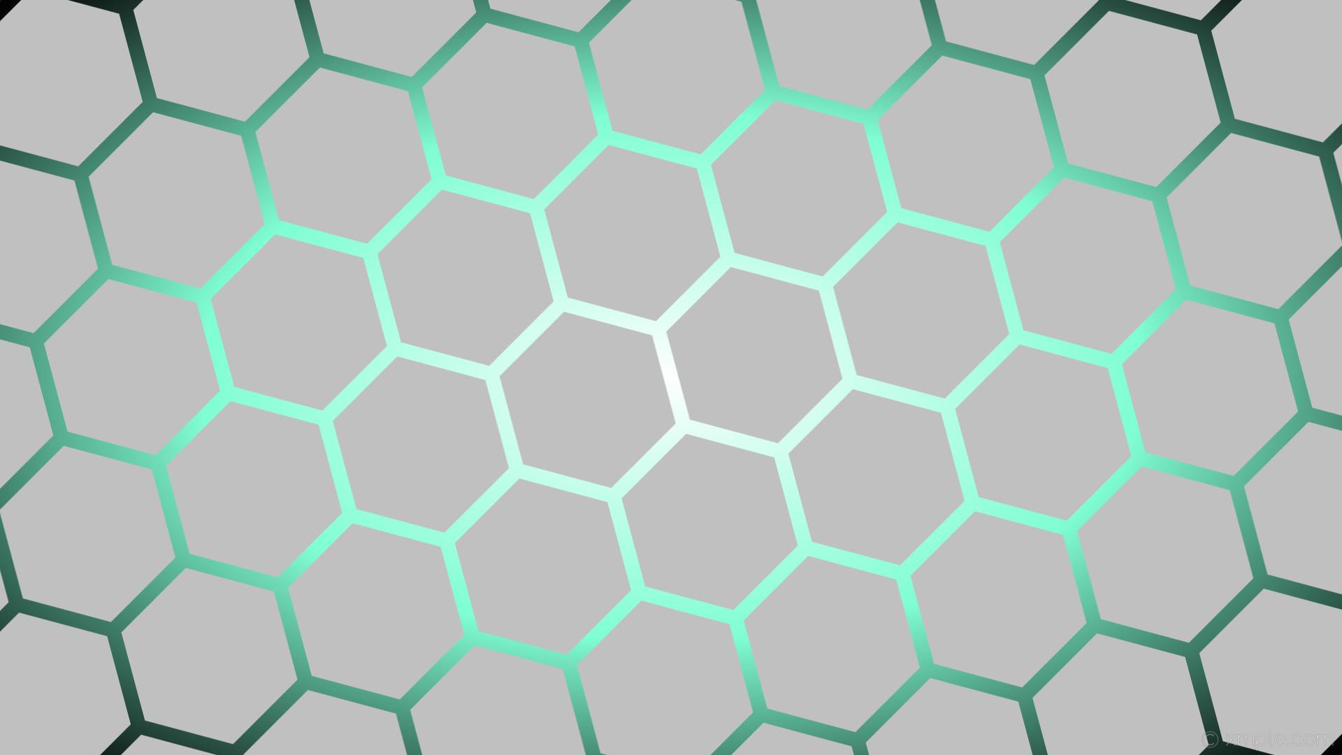 wallpaper white glow hexagon black gradient blue grey silver aquamarine  #c0c0c0 #ffffff #7fffd4