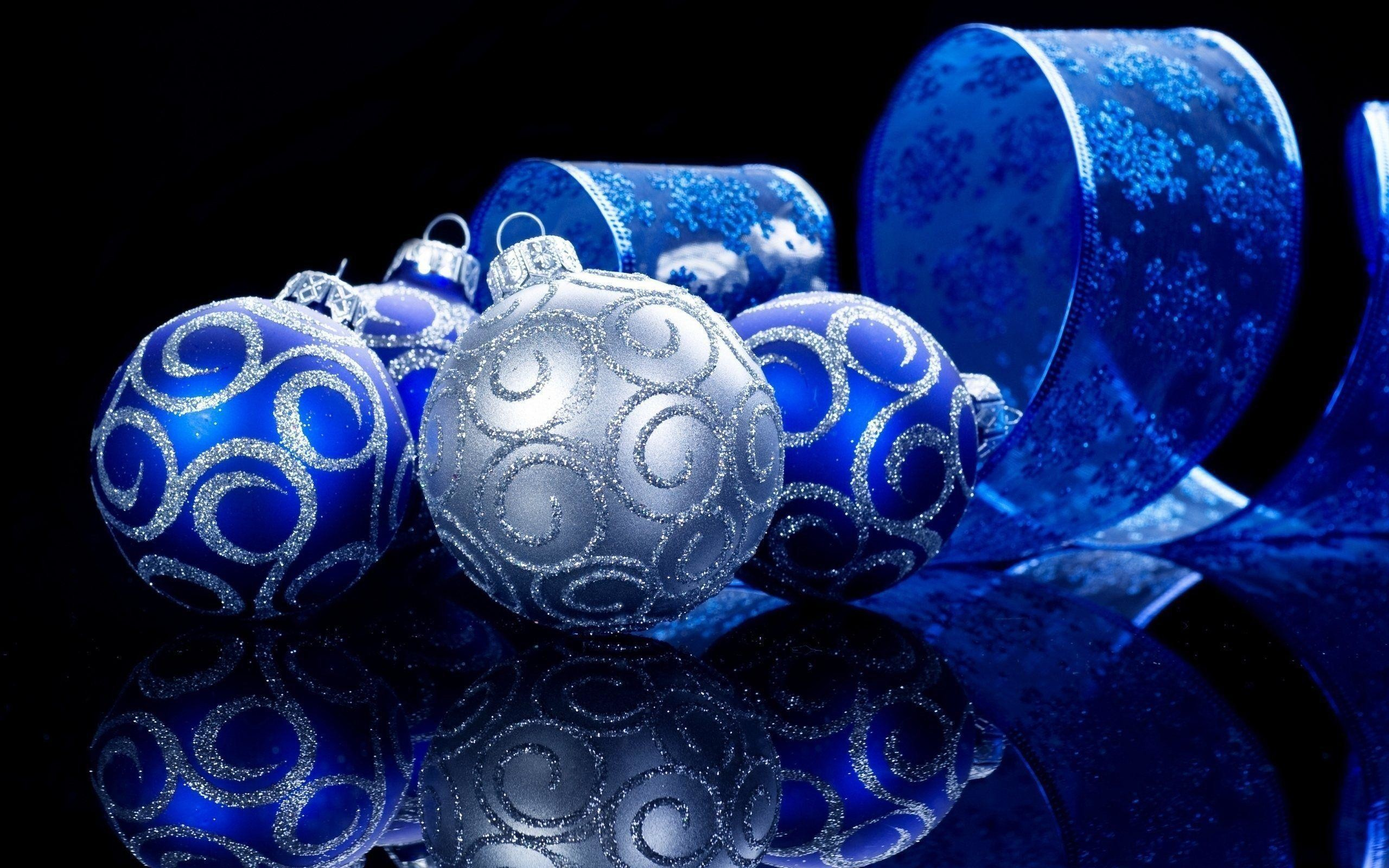 Wallpapers For > Blue And Silver Christmas Wallpaper