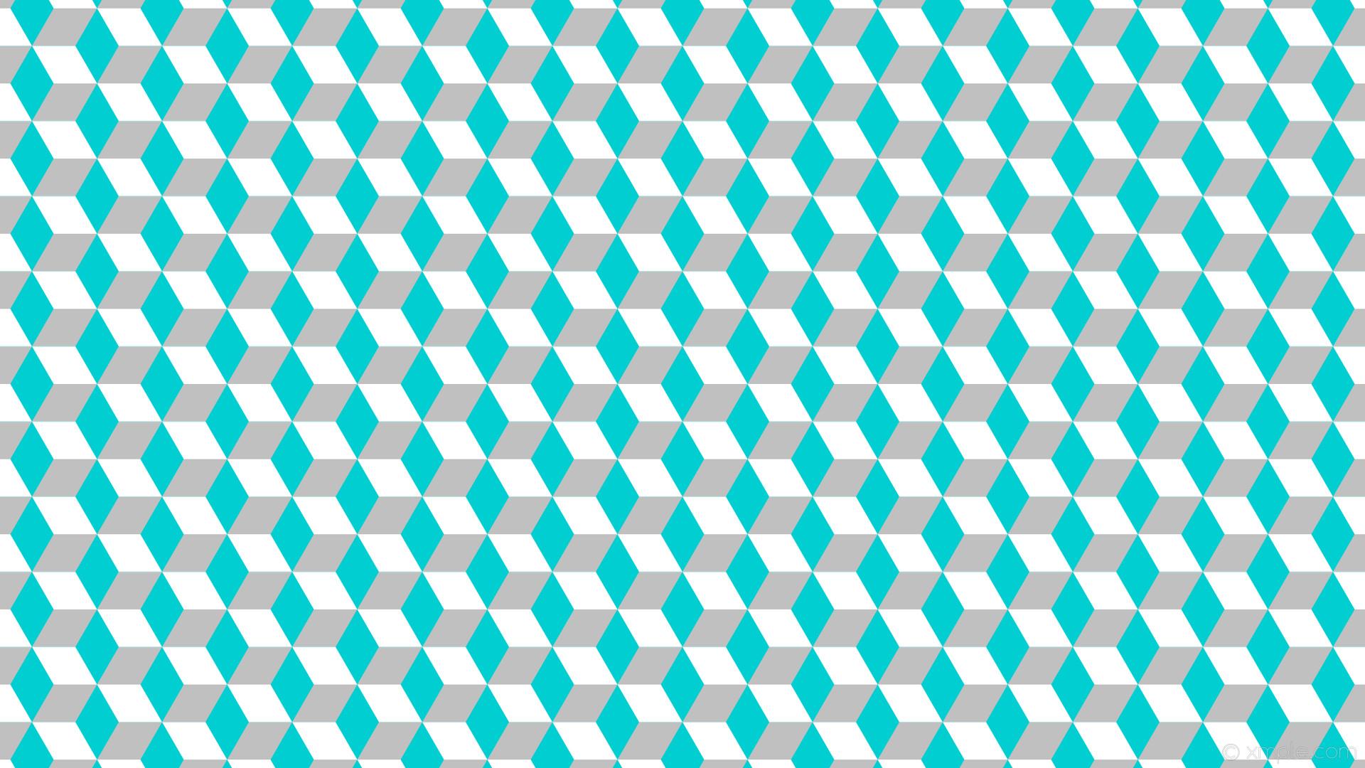 wallpaper white 3d cubes blue grey dark turquoise silver #00ced1 #c0c0c0  #ffffff 90