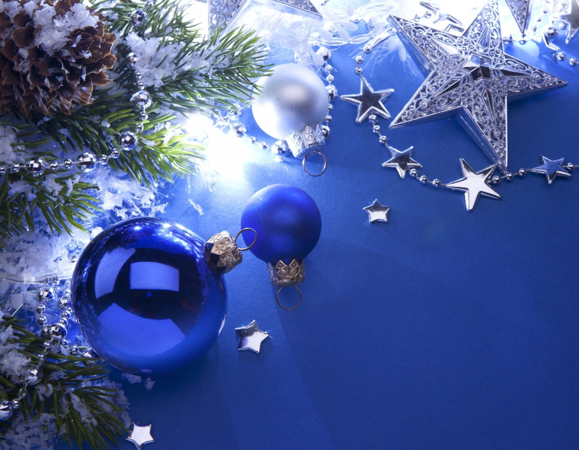 balls bulbs blue white star silver christmas tree cone branches christmas  toys new year christmas new