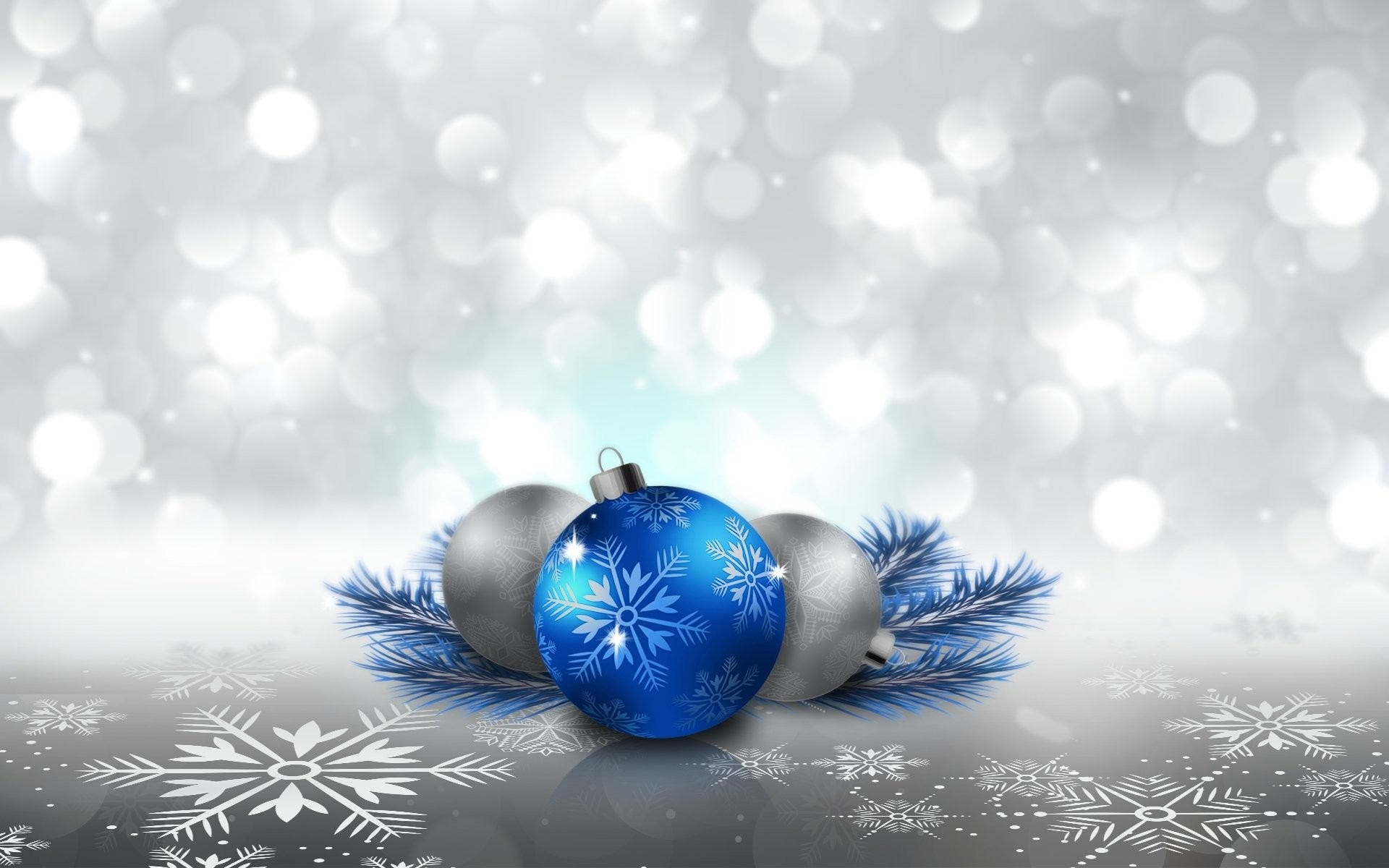 Holiday – Christmas Holiday Christmas Ornaments Blue Silver Snowflake  Wallpaper