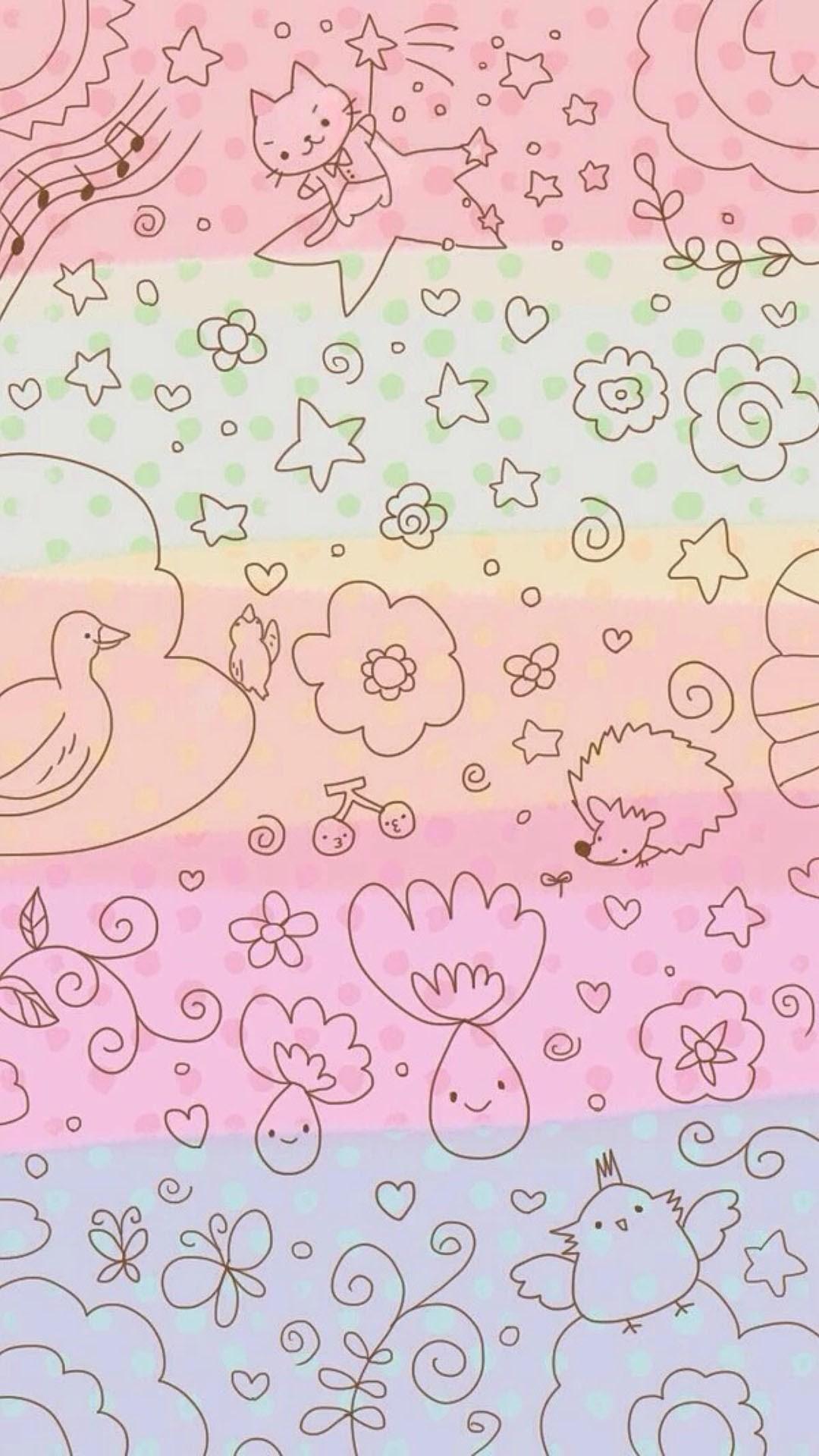 Dreamy Anime Cute Kitten Pattern Painting Background #iPhone #6 #wallpaper