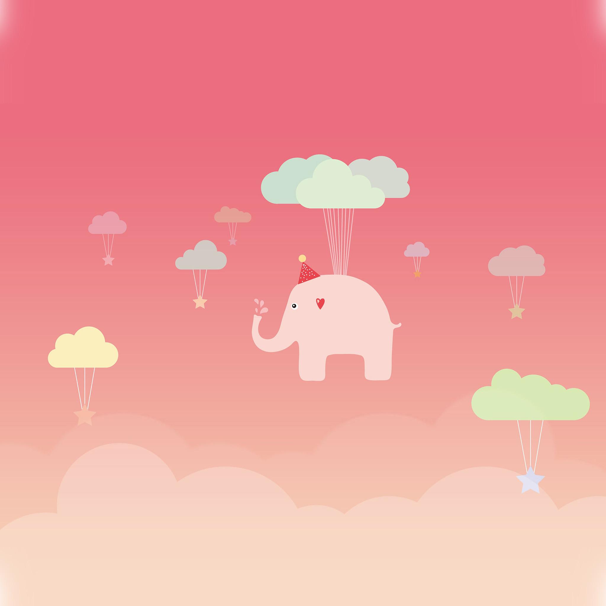 958 2: Cute Elephant Illustration Art Pink Fly iPad Air wallpaper