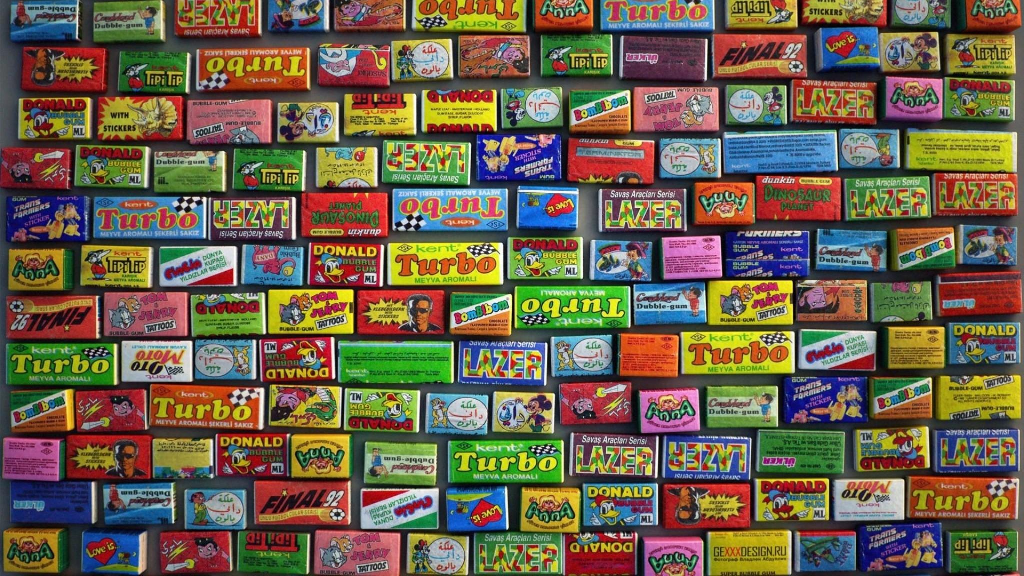 Wallpaper gum, chewing gum, diversity, set