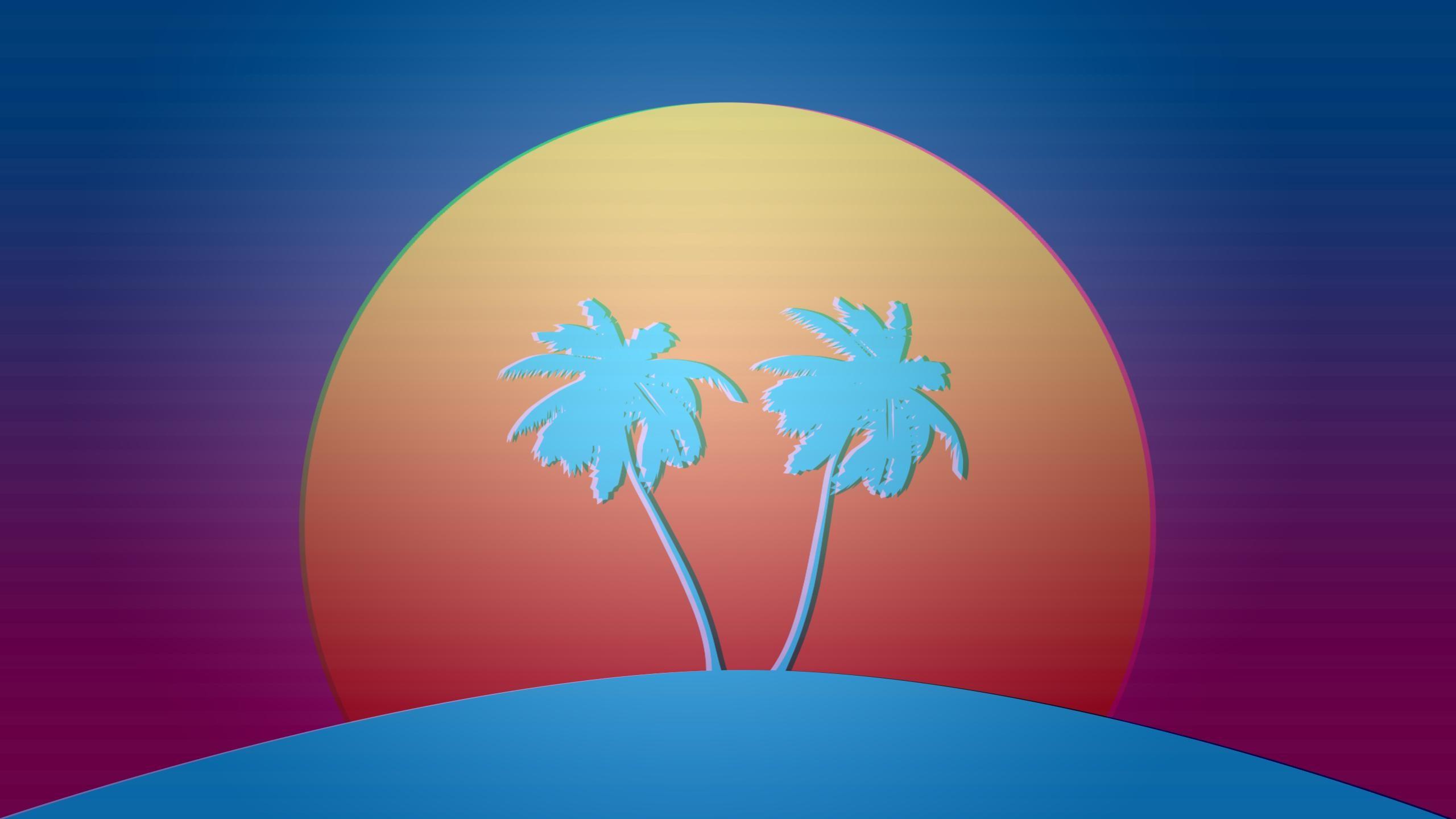 Vaporwave Palm Trees Sunset Vaporwave Pixel Art 80s Sci Fi