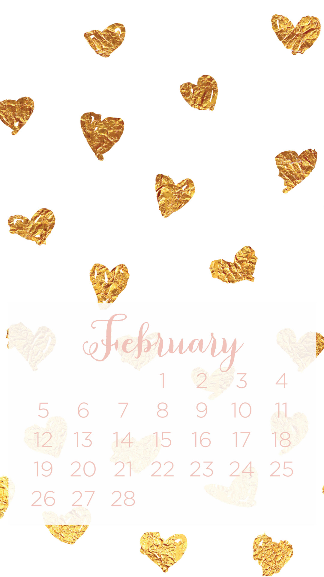Click to download the foil heart February calendar wallpaper.