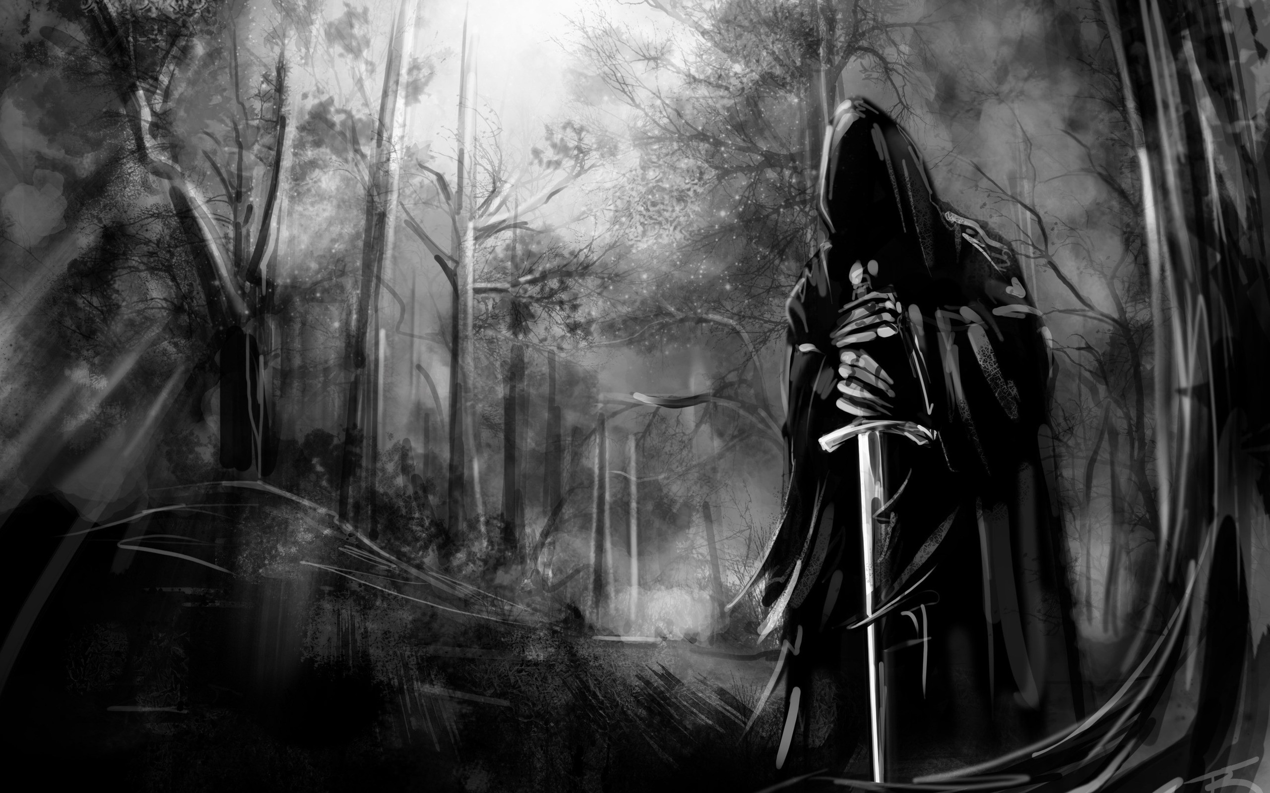 Black and white death forest gothic swords wallpaper | | 10932 |  WallpaperUP