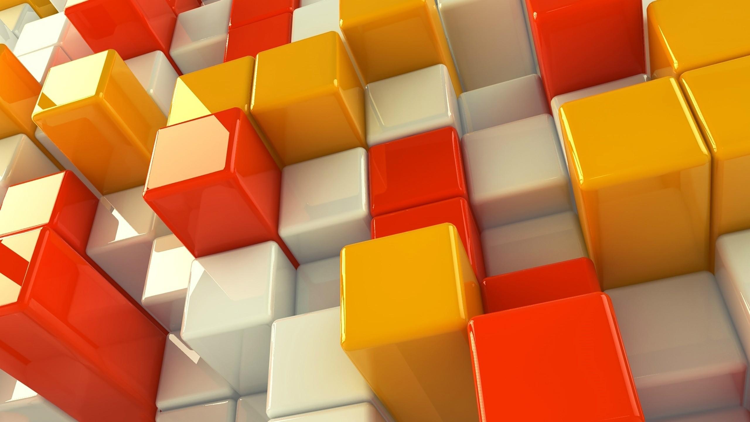 White Orange And Yellow Cubes