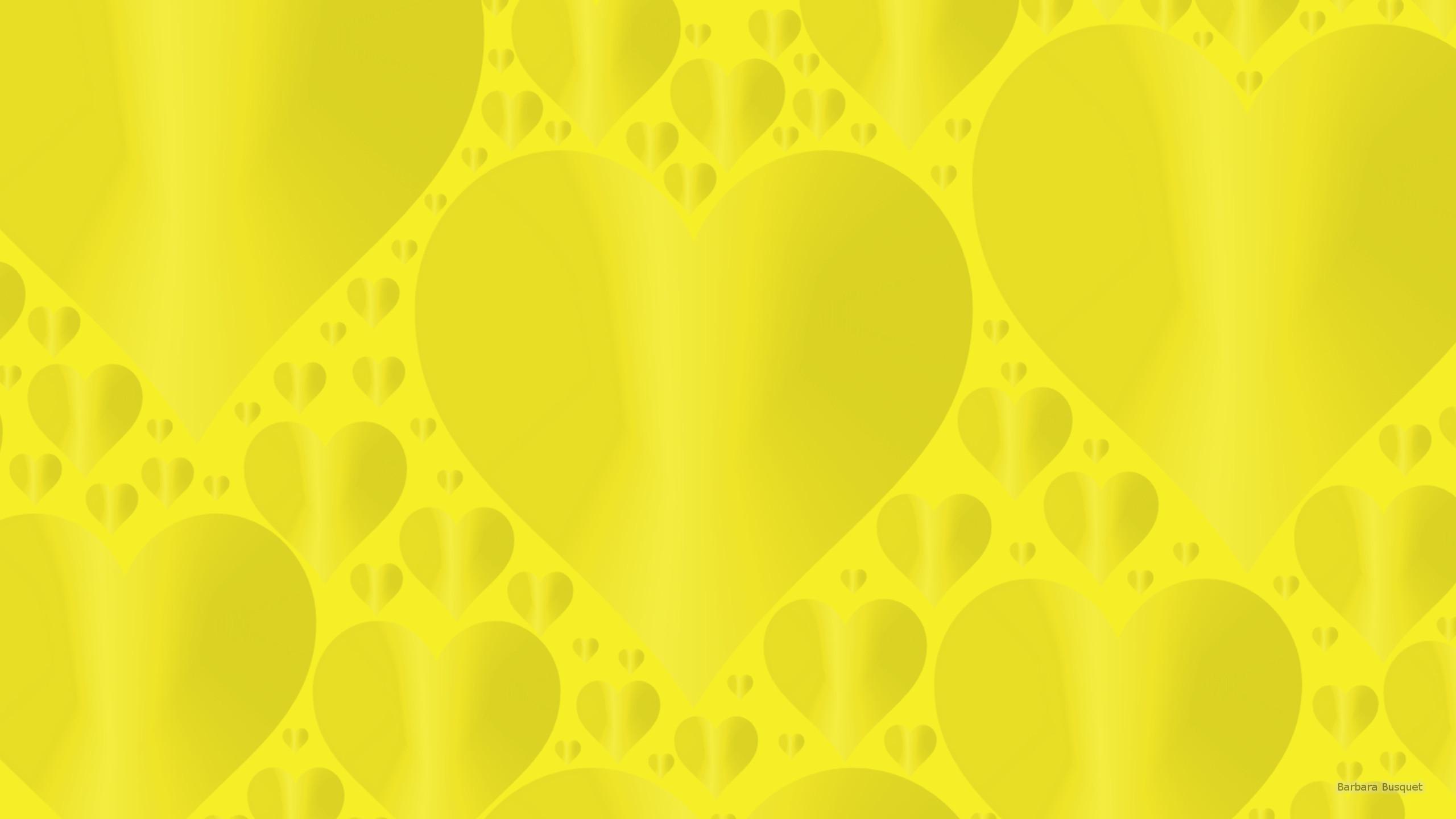 Dark yellow wallpaper with hearts.