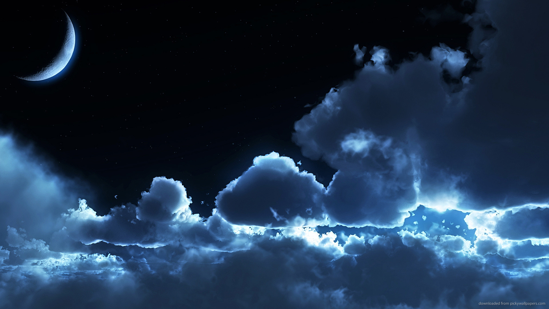 1280×1024 Night Blue Clouds and Moon wallpaper