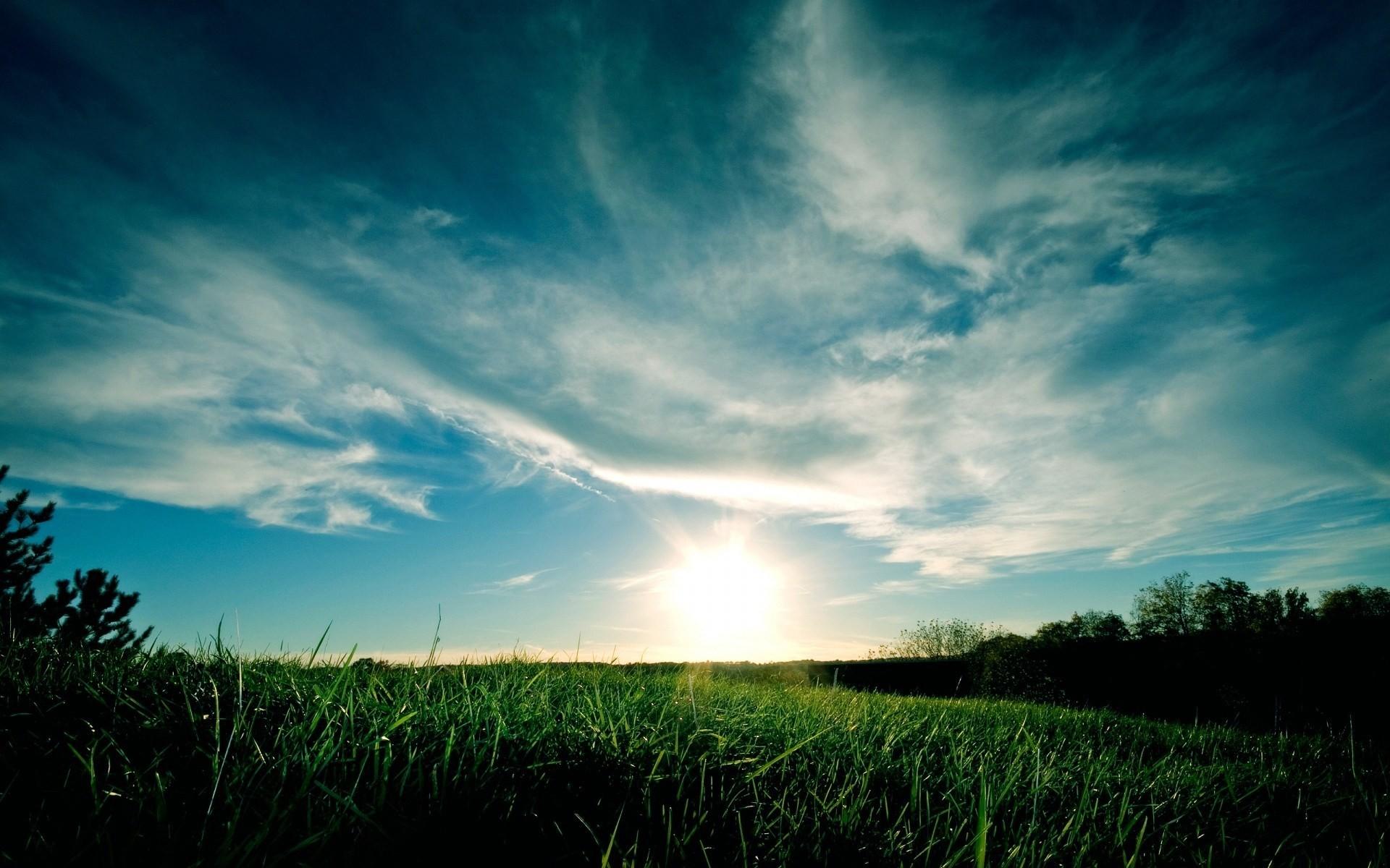 sky grass blue green clouds wallpaper hd