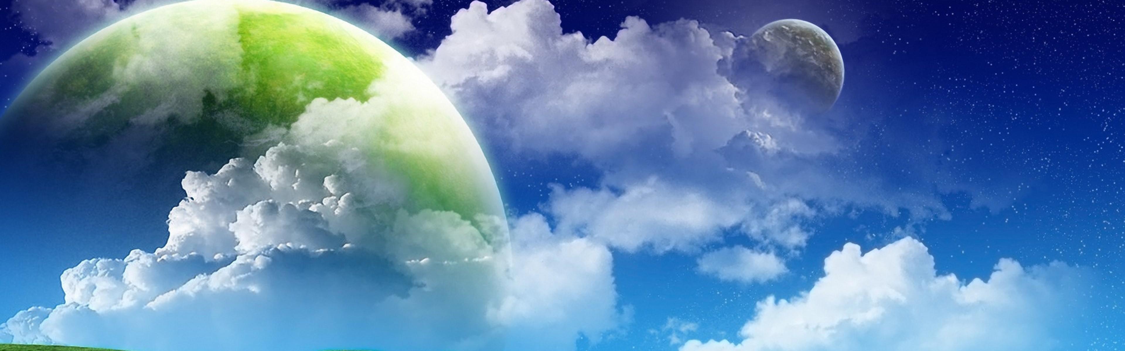 Wallpaper grass, green, sky blue, clouds, summer