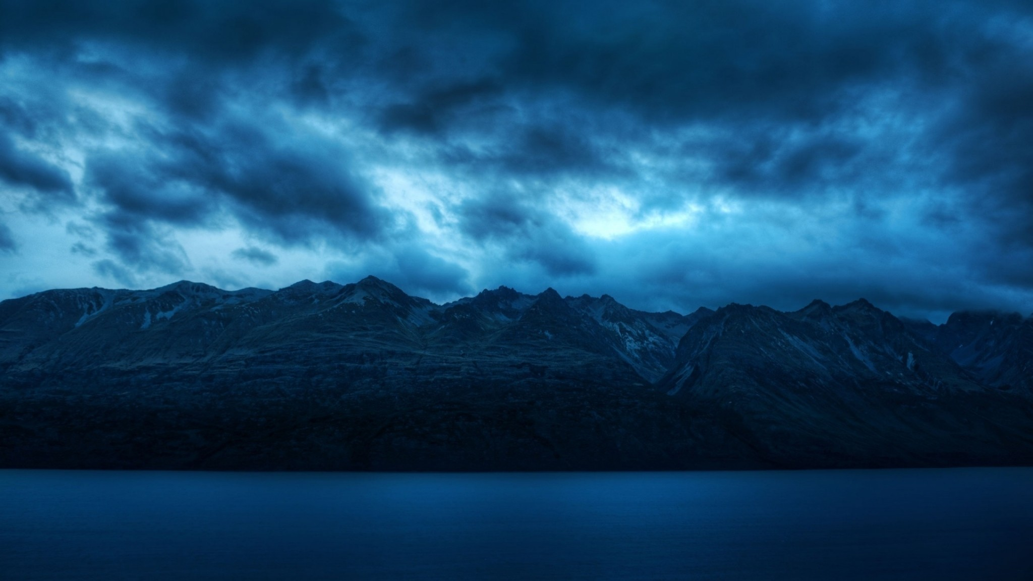 Wallpaper water, blue, mountains, scenery, clouds