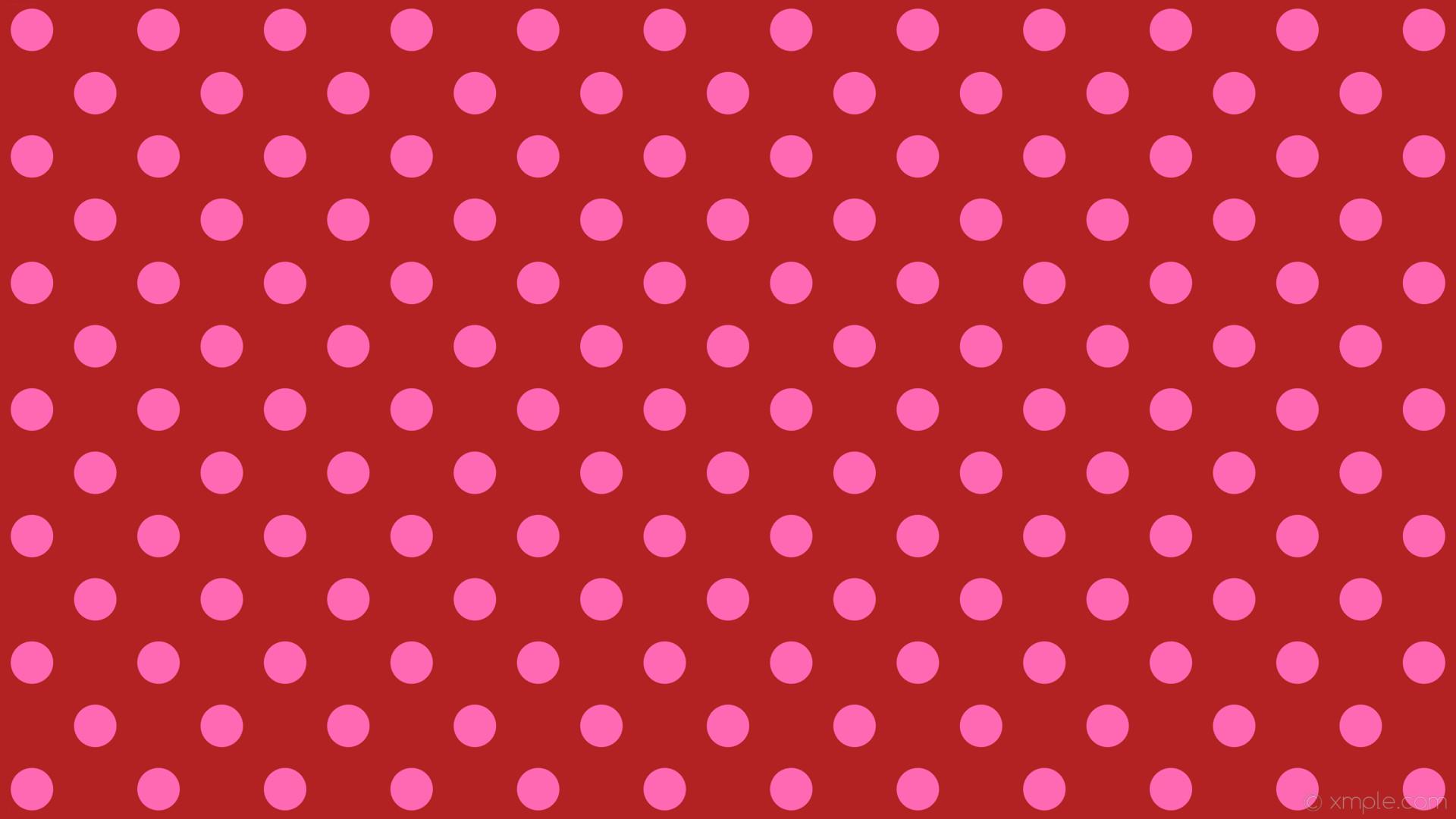 wallpaper pink polka dots spots red fire brick hot pink #b22222 #ff69b4 225°