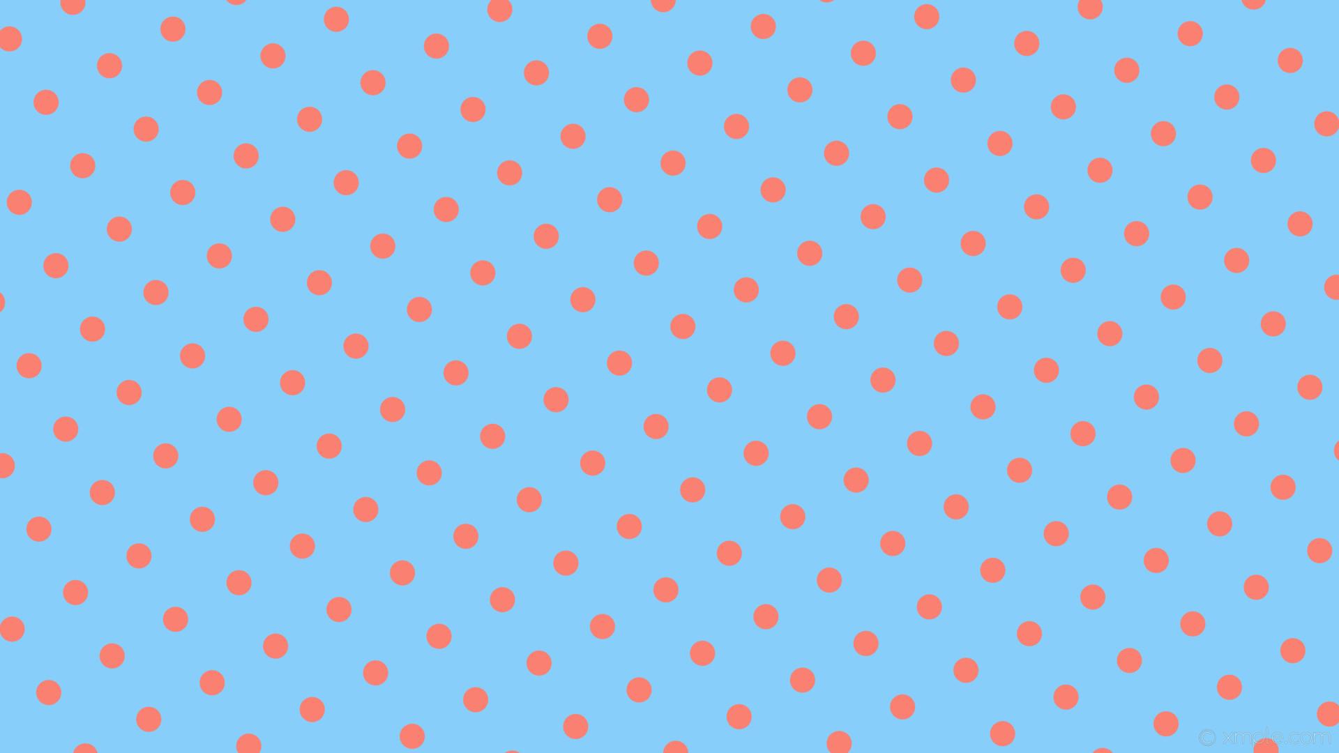 wallpaper red polka dots blue spots light sky blue salmon #87cefa #fa8072  300°