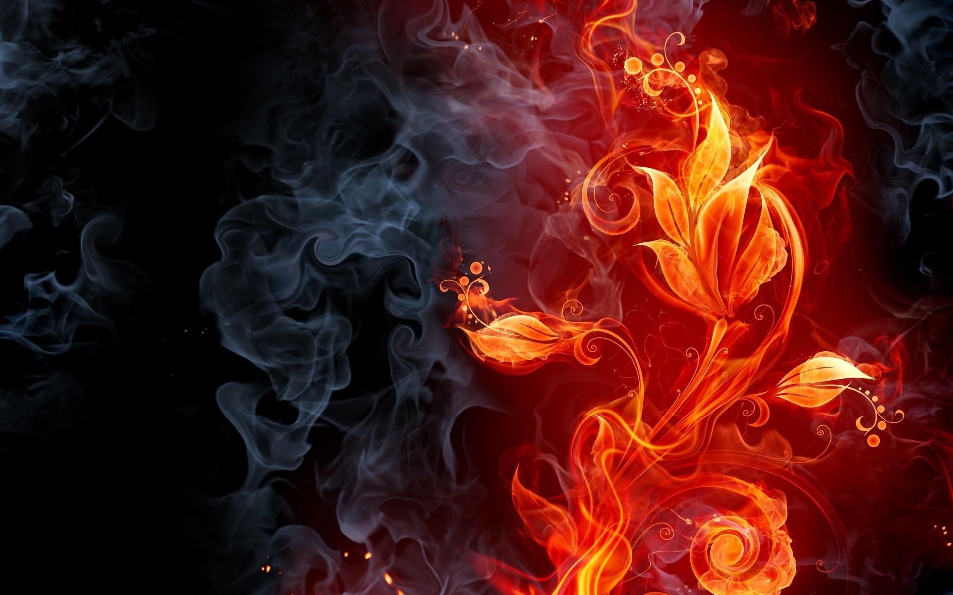 Abstract fire flames smoke flowers cg digital art color .