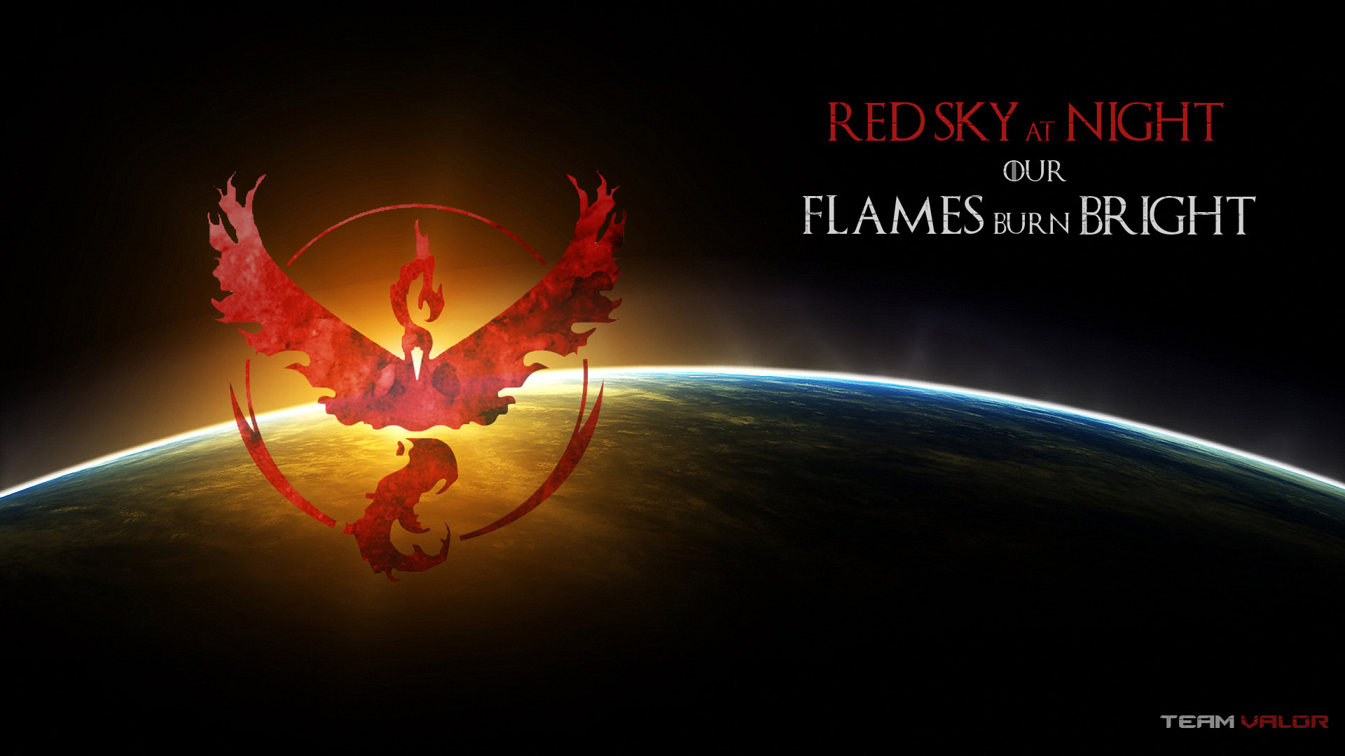 Red Sky at Night our flames burn bright – Team Valor PC wallpaper