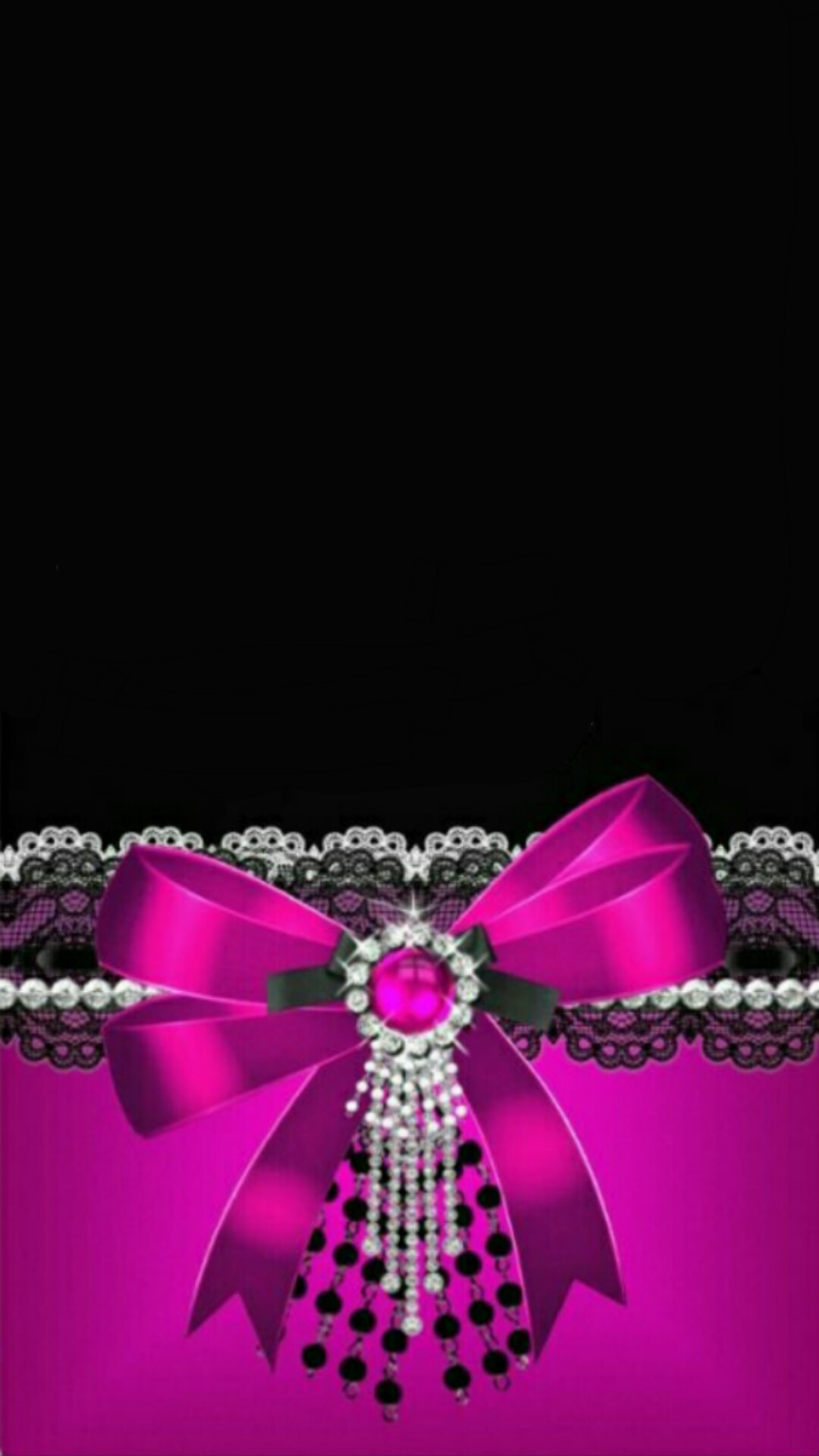 Black with Pink Bow Wallpaper.