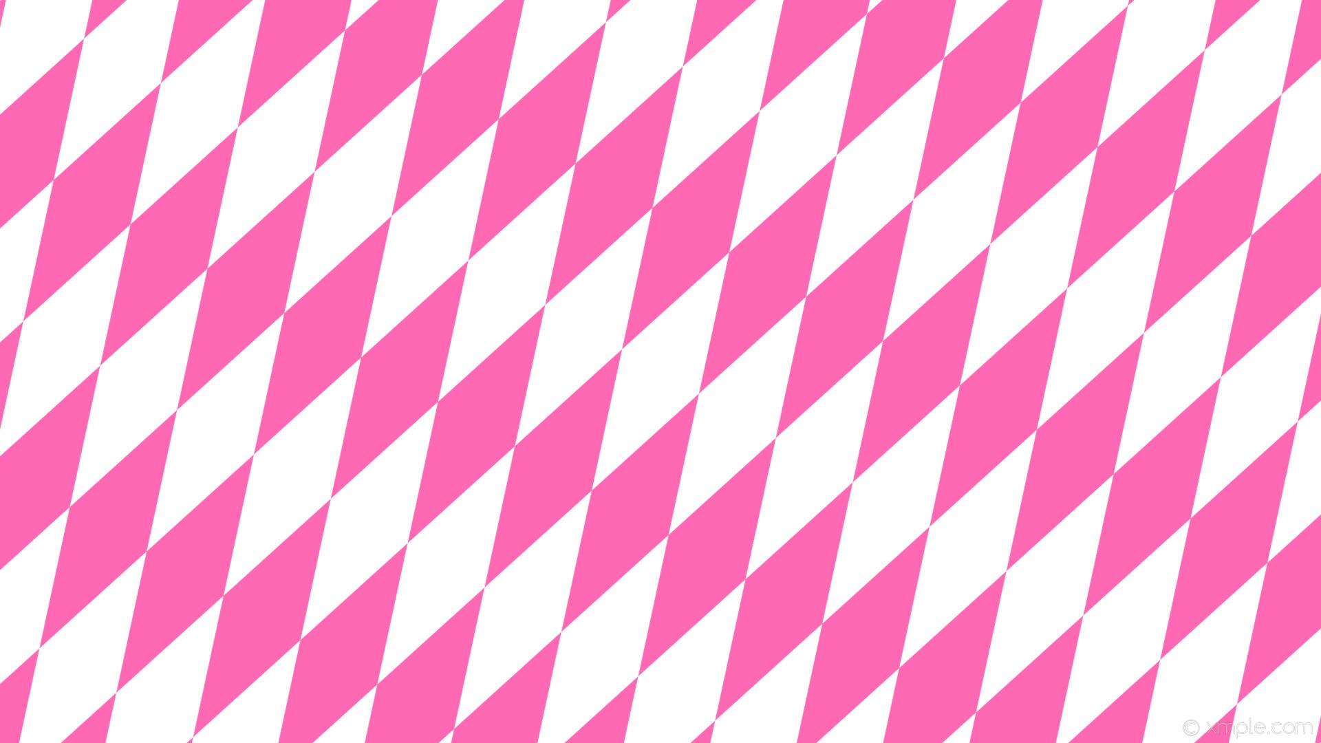 wallpaper pink white diamond lozenge rhombus hot pink #ffffff #ff69b4 60°  400px 129px
