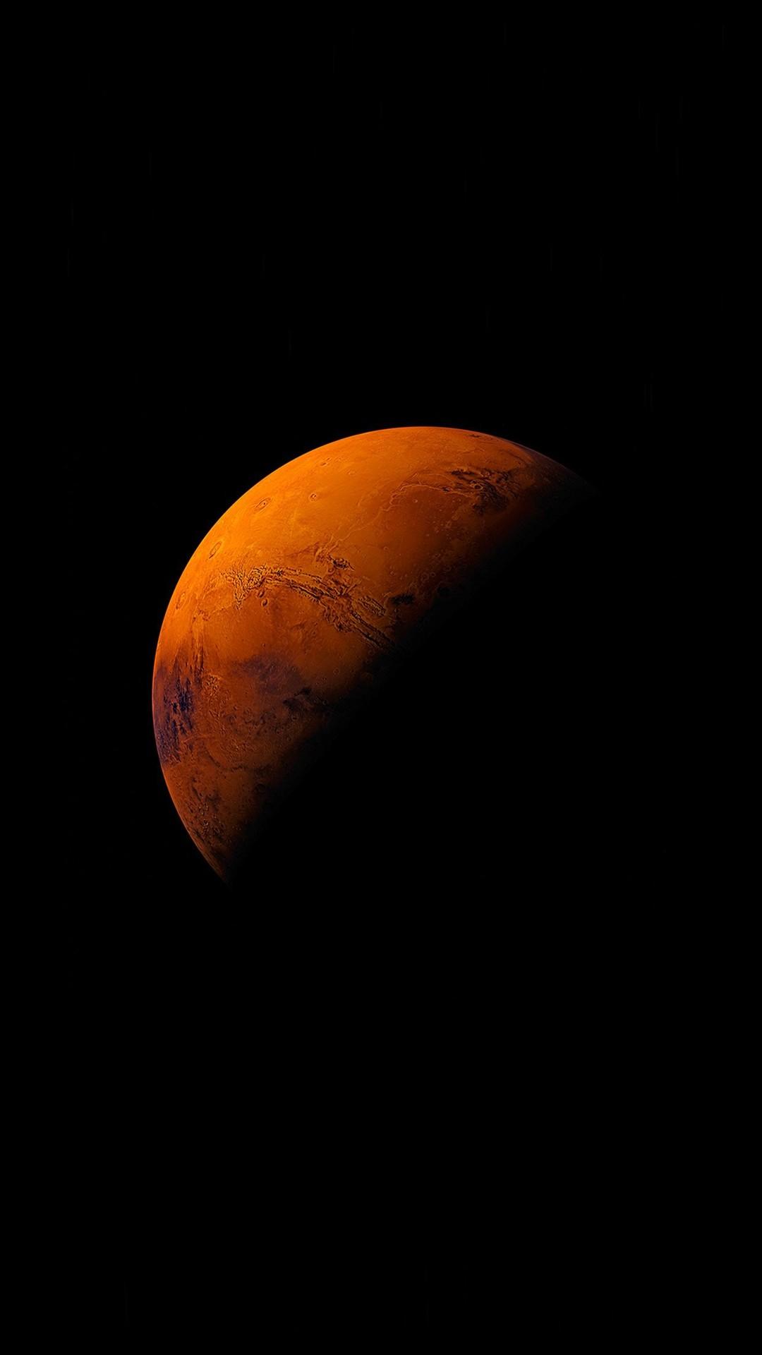 Mars Planet Apple Dark Space Orange iPhone 6 wallpaper