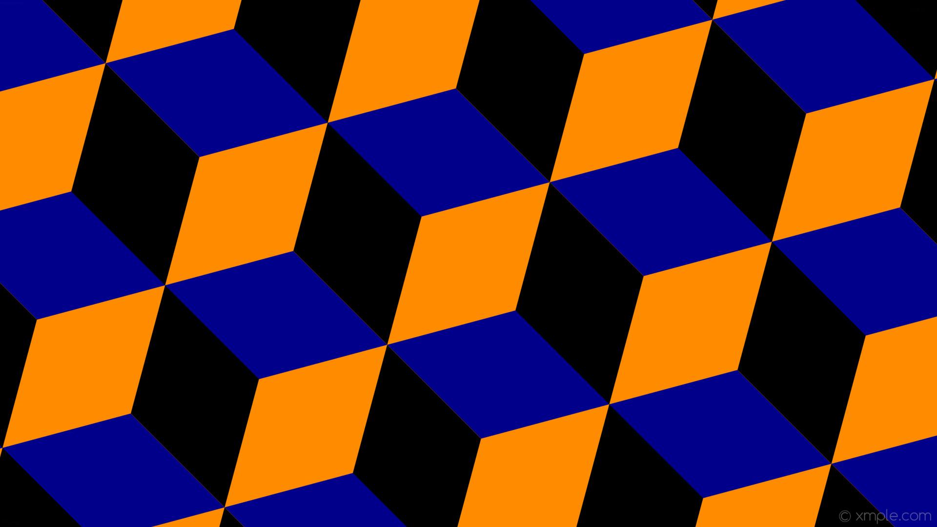 wallpaper 3d cubes blue orange black dark orange dark blue #ff8c00 #00008b  #000000
