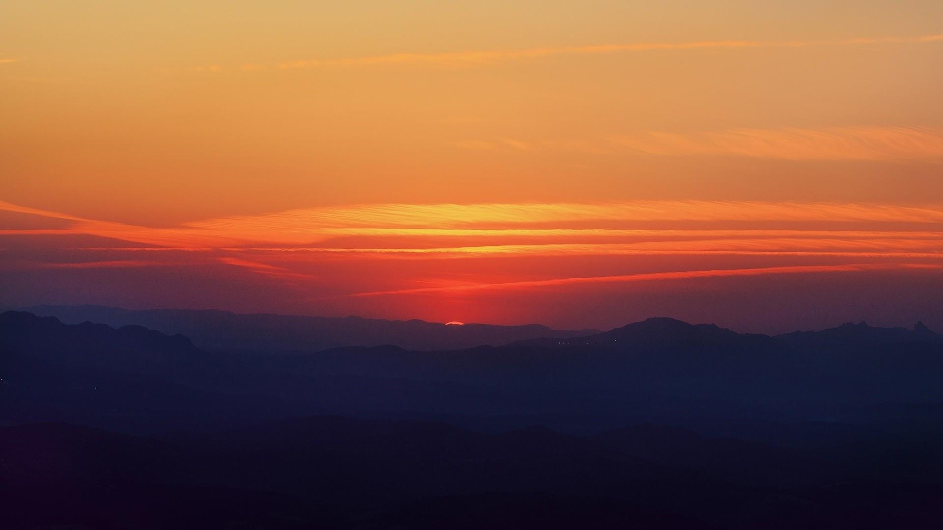 Amazing Orange Sky Dark Hills
