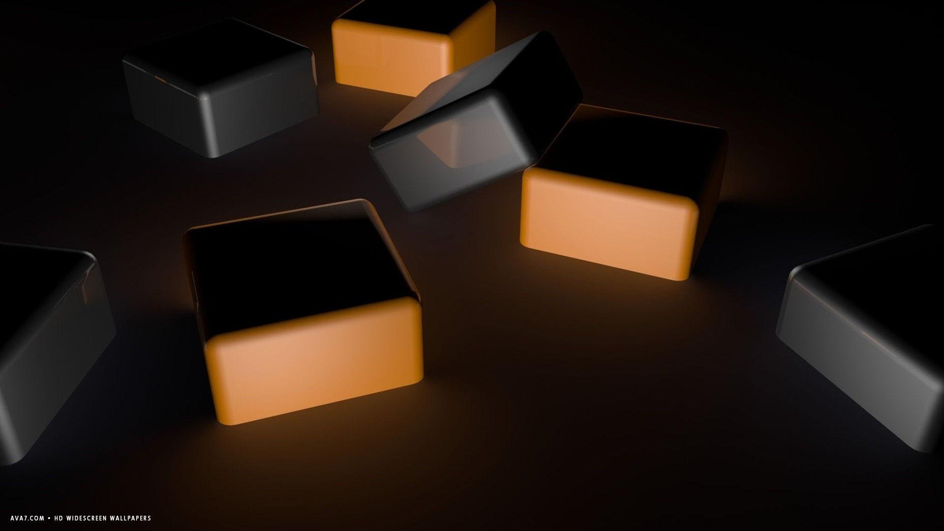 3d cubes dark orange hd widescreen wallpaper