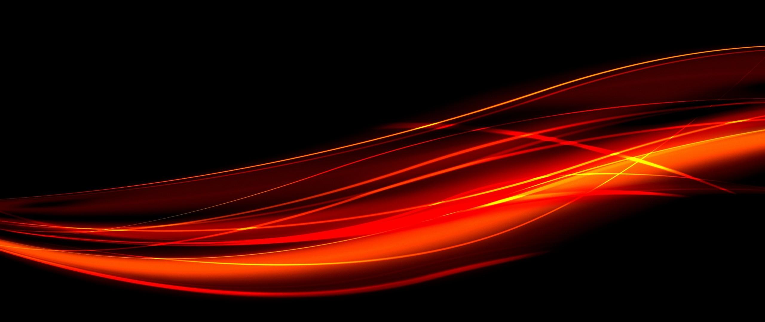 Preview wallpaper black, red, line, light 2560×1080