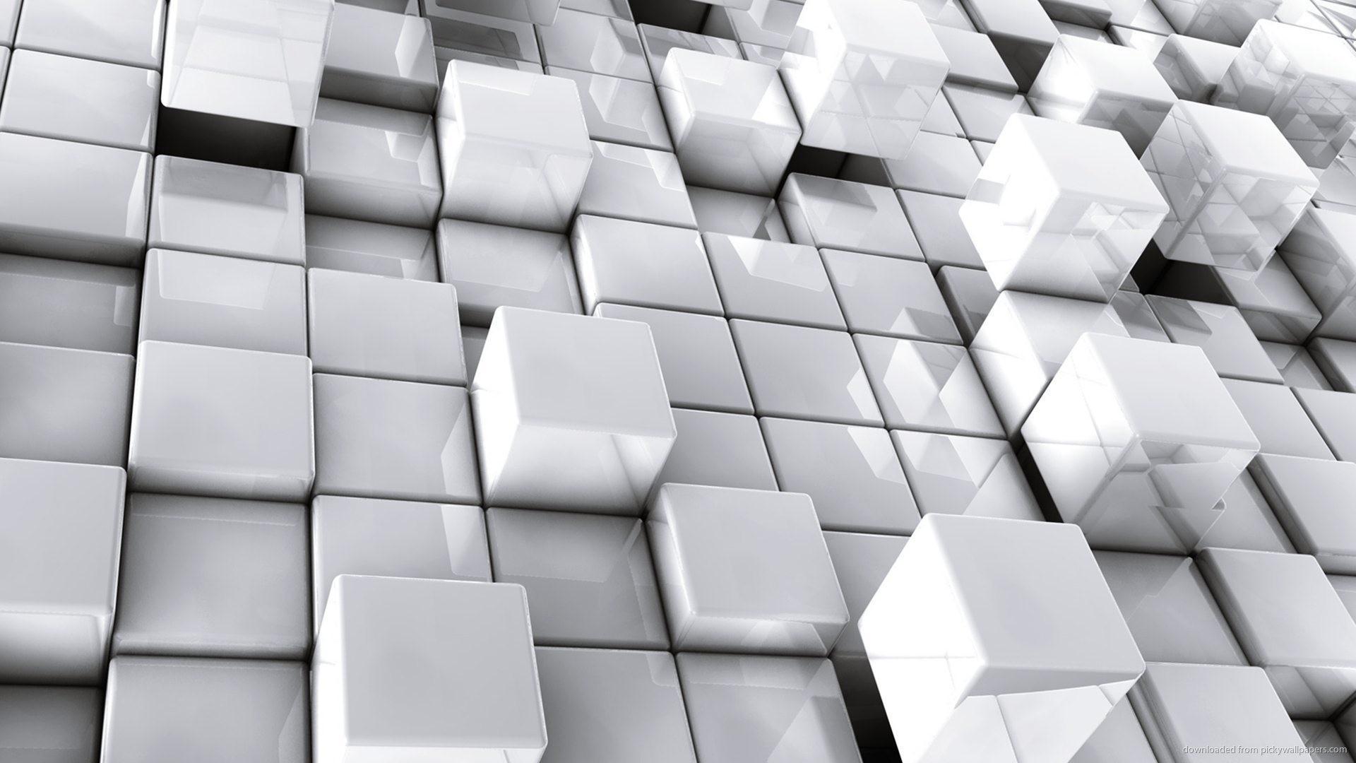 Abstract White 3D Cubes Desktop Wallpaper picture