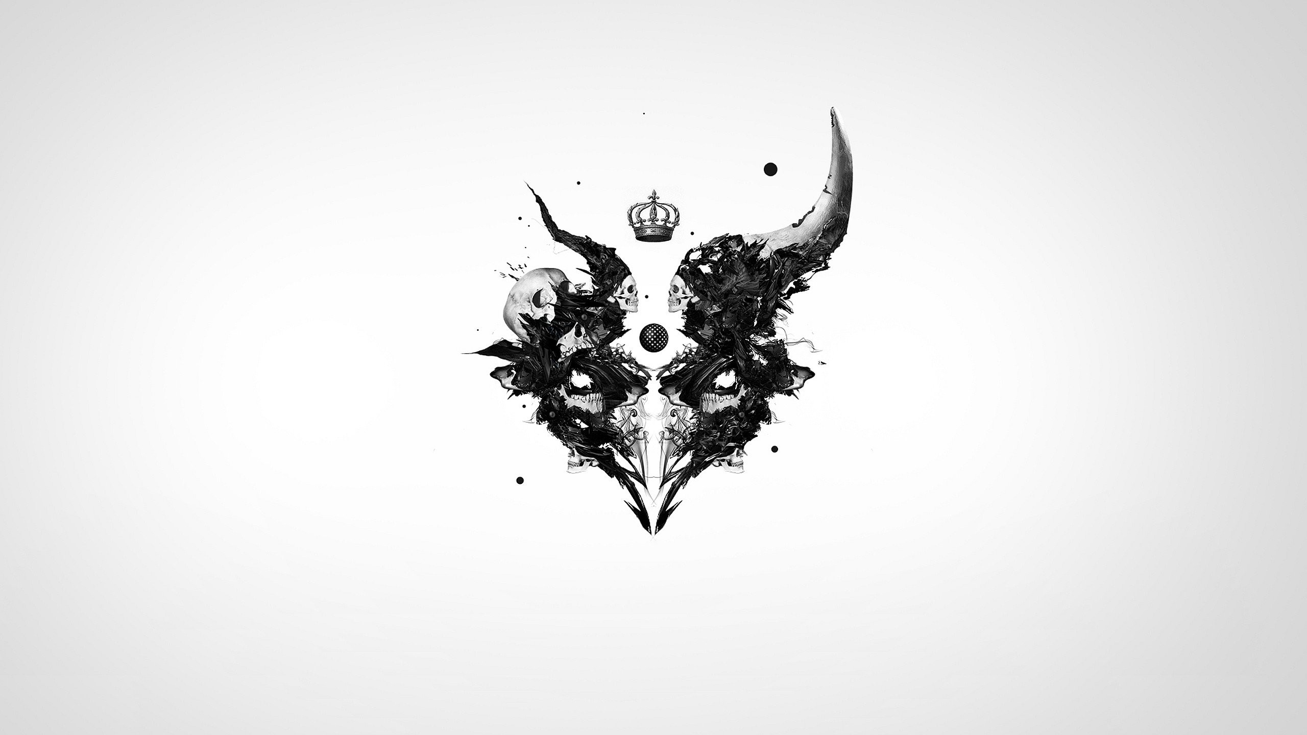 Abstract Crowns Skulls White Background
