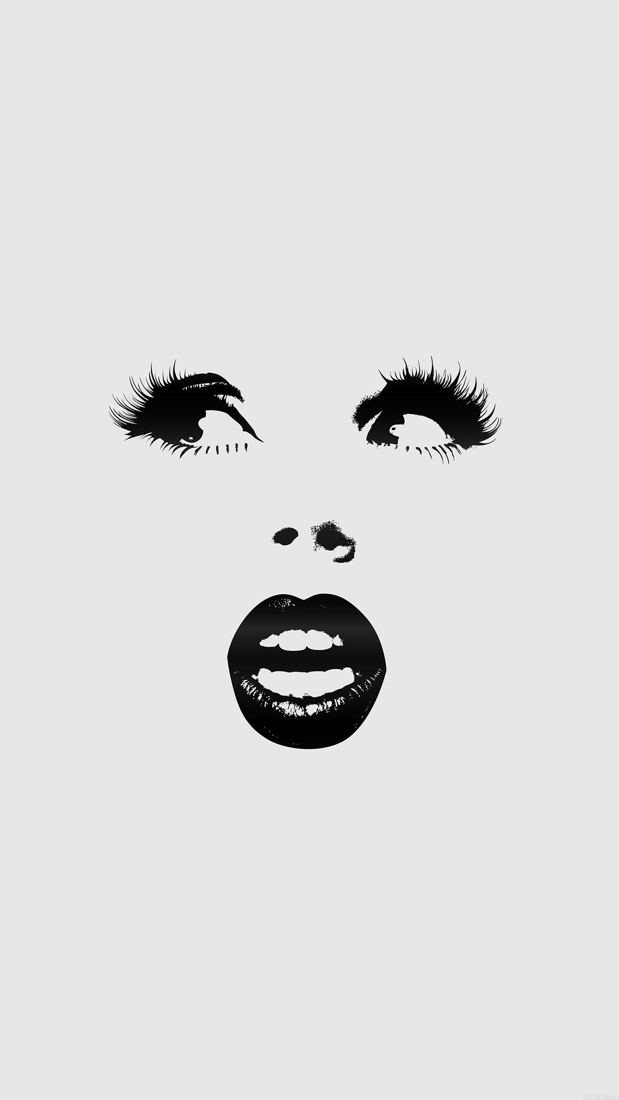 Girlish Girly Face Lips Eyes Minimalistic Stylish Girl Black and White HD  iPhone 6 plus Wallpaper