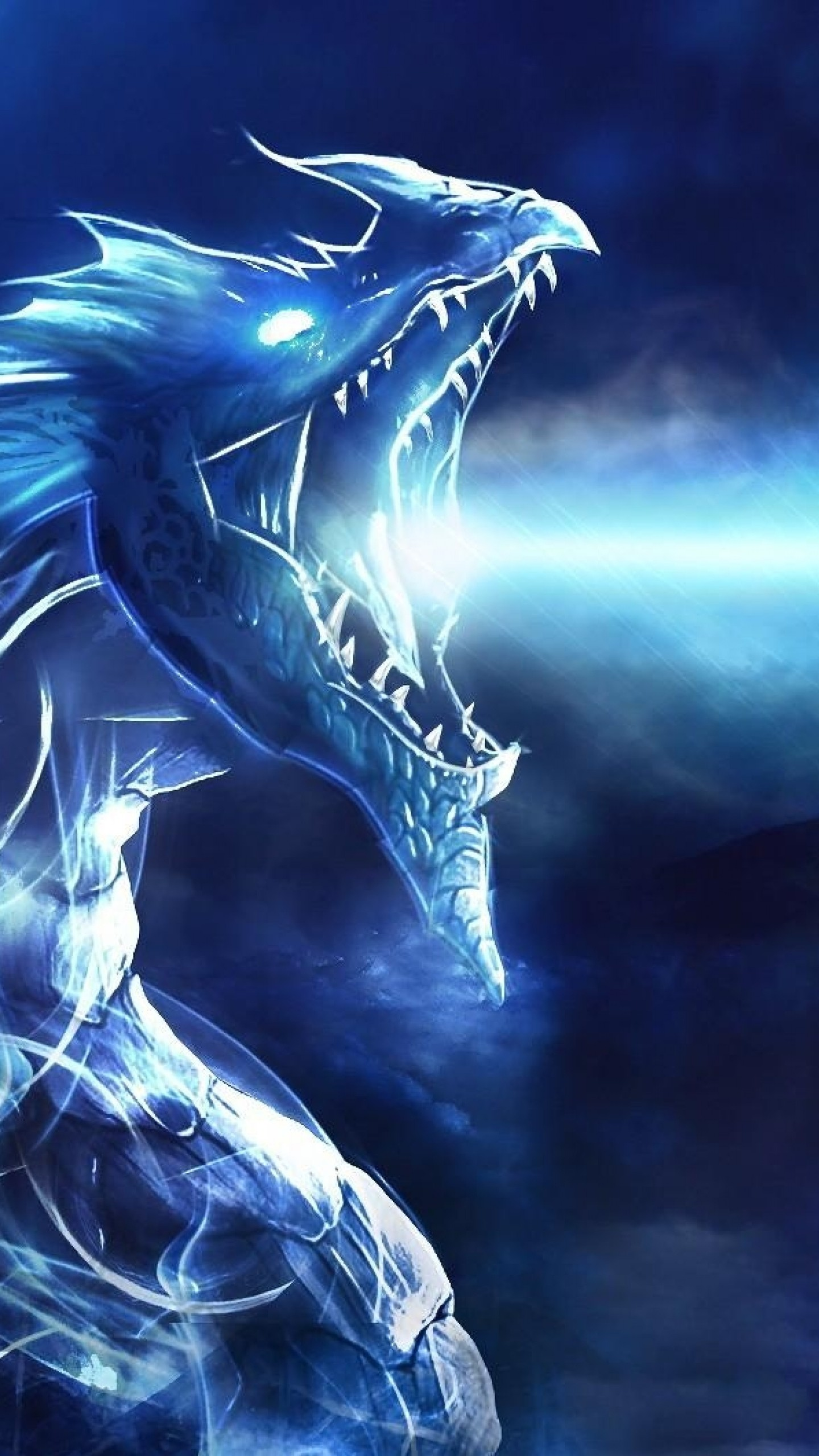 Preview wallpaper dragon, mouth, night, light 1440×2560