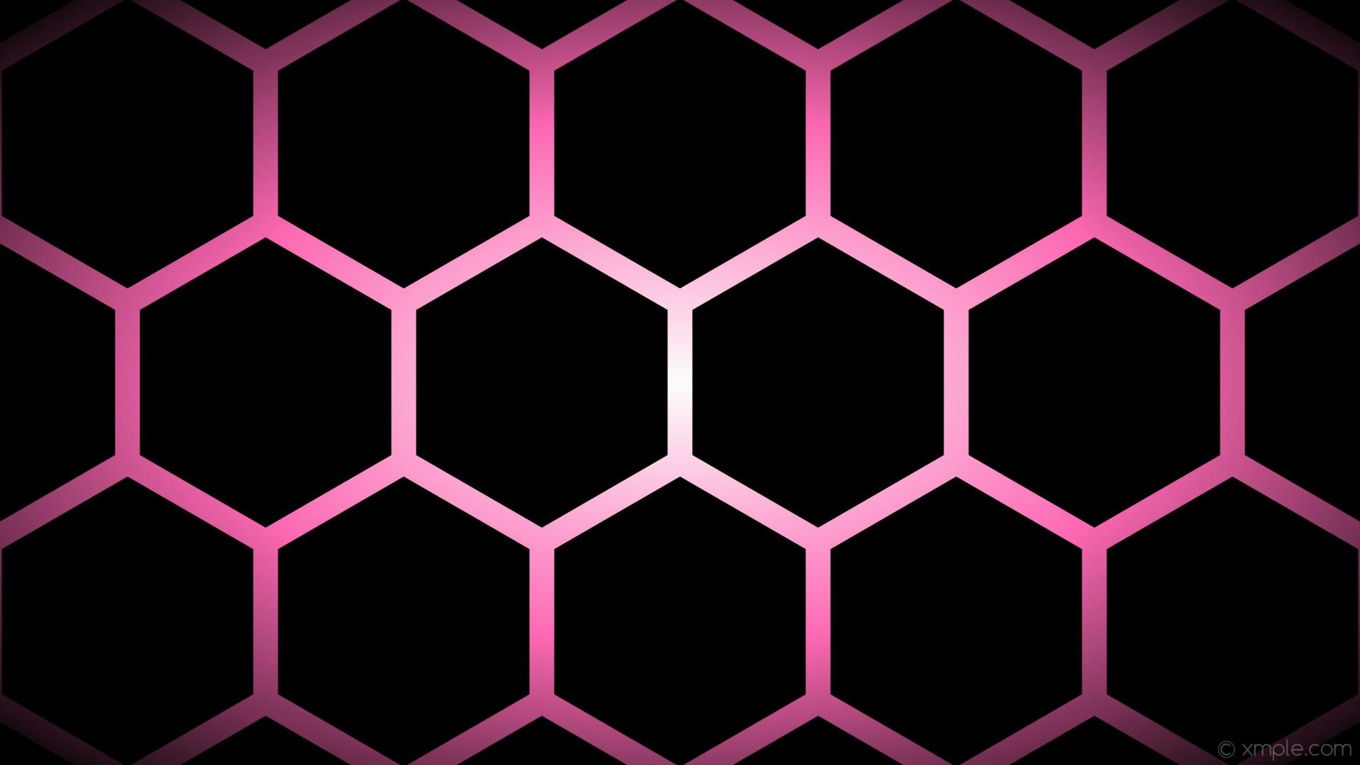 wallpaper glow hexagon black pink white gradient hot pink #000000 #ffffff  #ff69b4 0