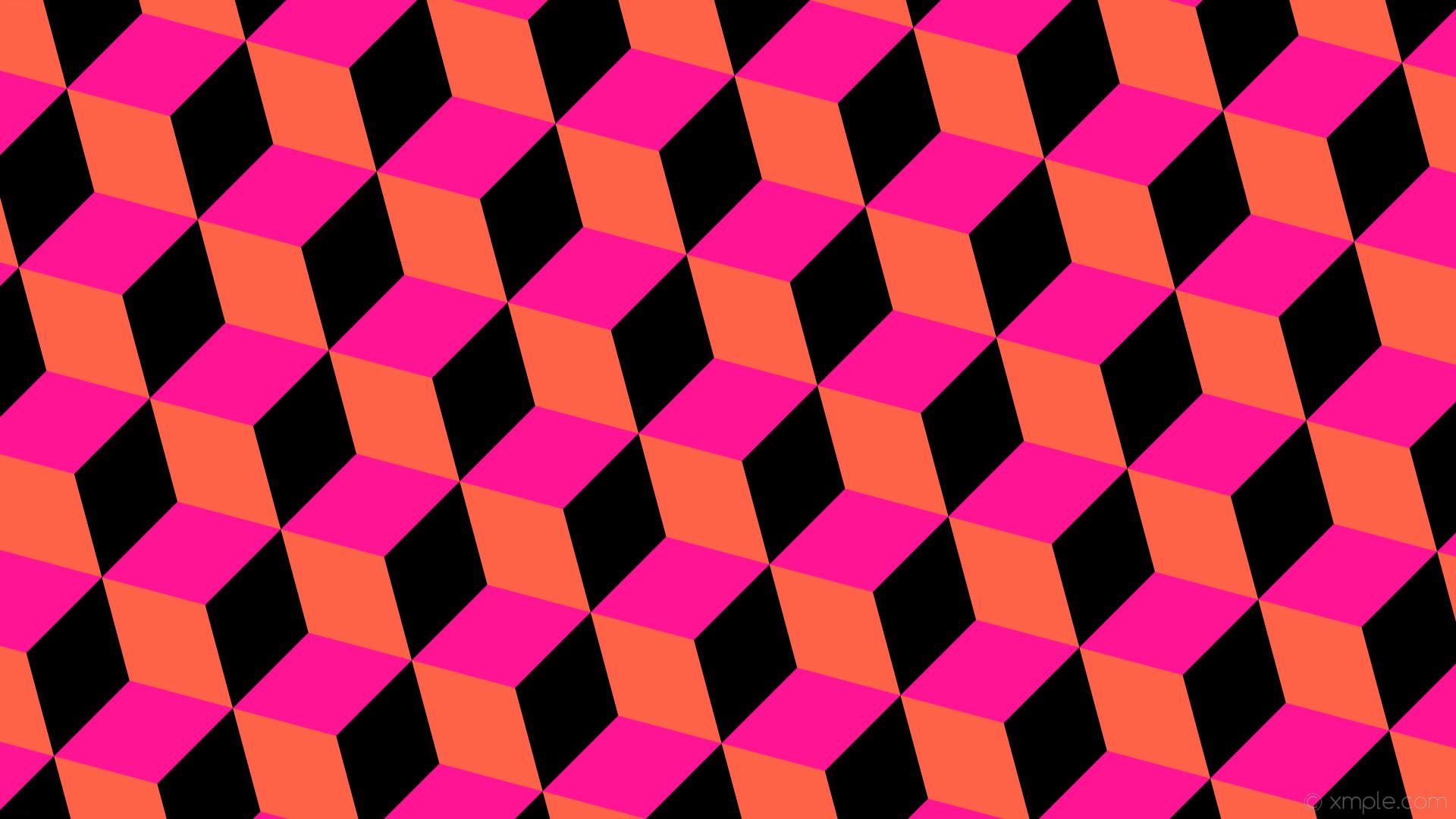 wallpaper black 3d cubes pink orange deep pink tomato #ff1493 #ff6347  #000000 195