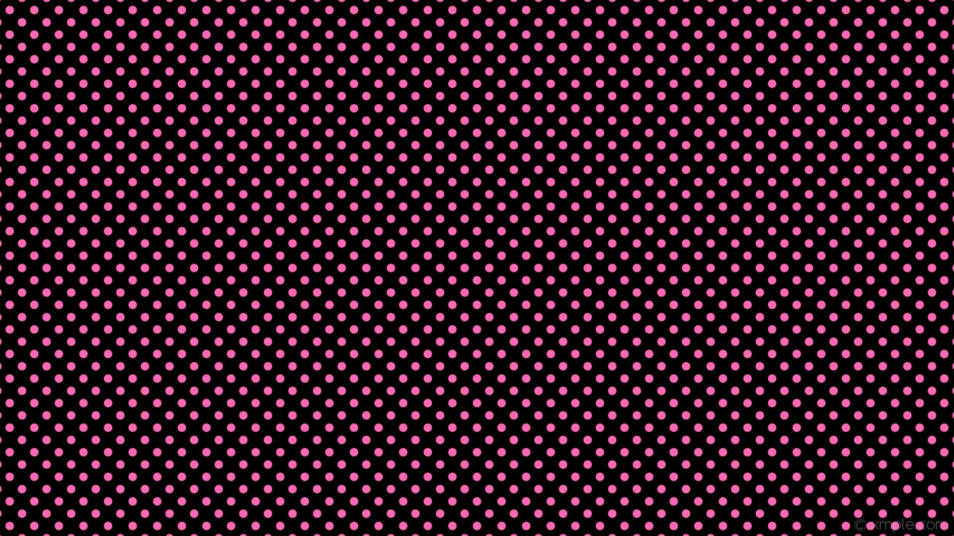 wallpaper pink black spots polka dots hot pink #000000 #ff69b4 135° 17px  35px